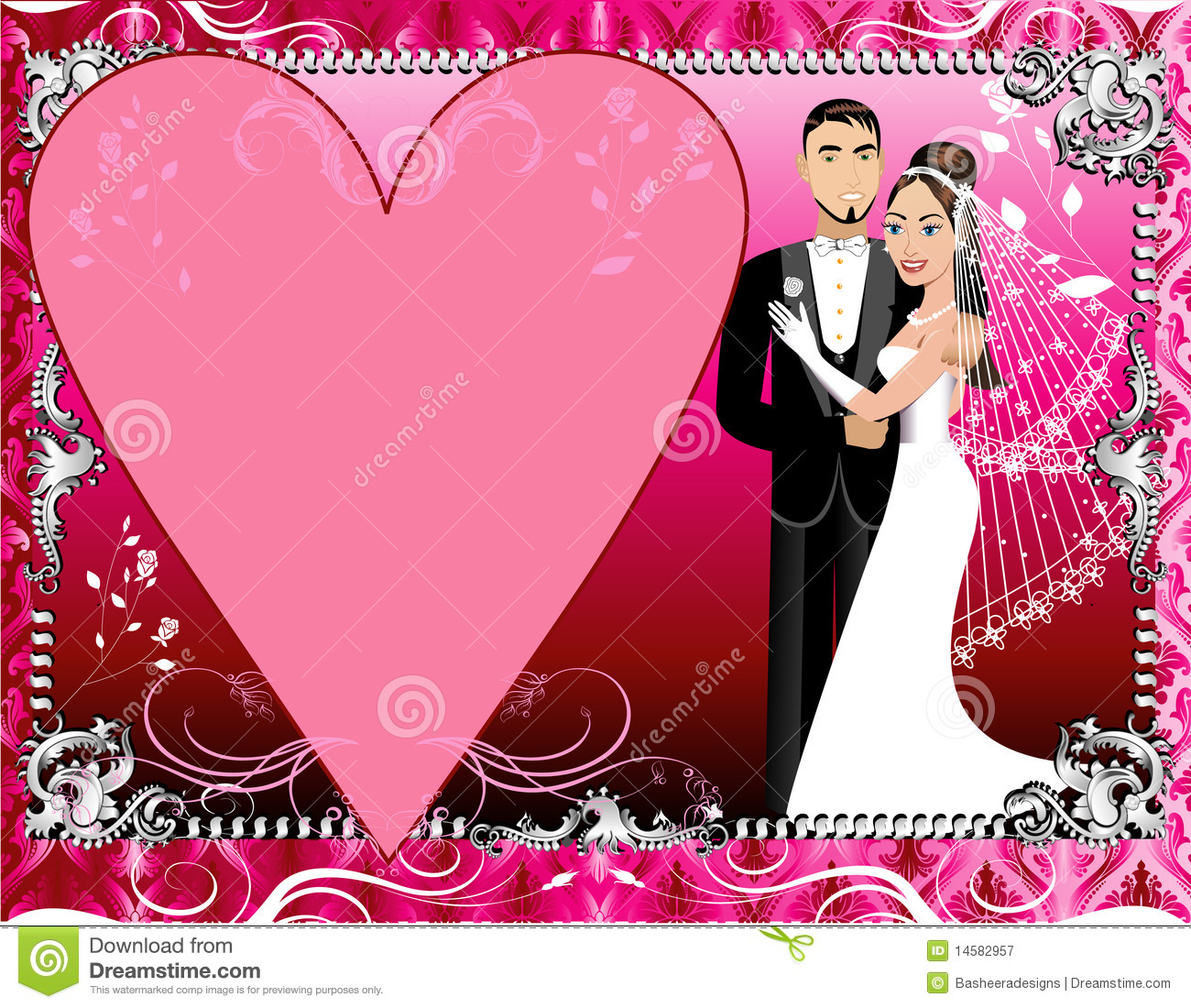 background beautiful bride couple groom illustration pink red silver template wedding