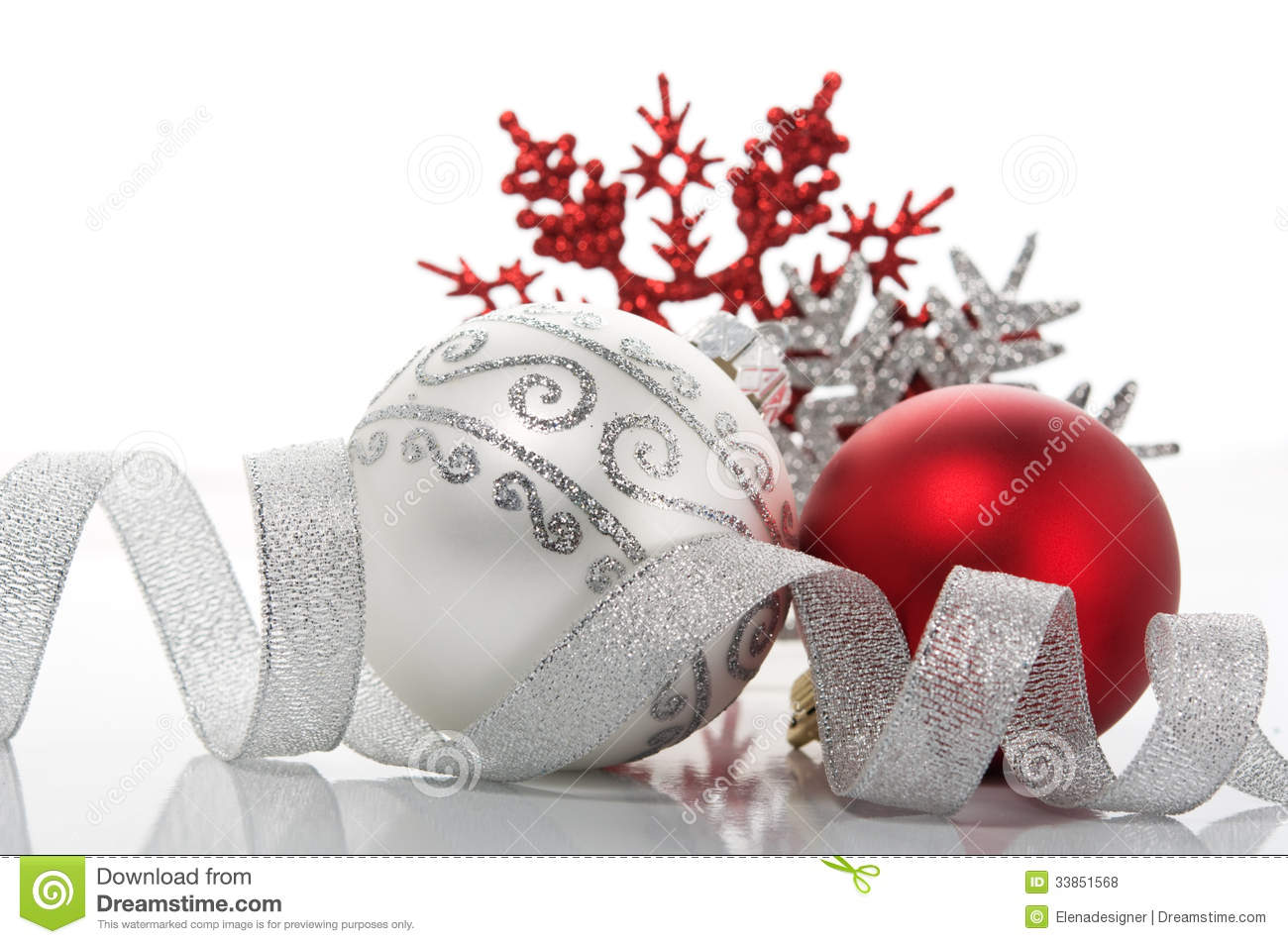 Red and silver xmas decoration stock photo image 33851568 for Christmas tree with red and silver decorations