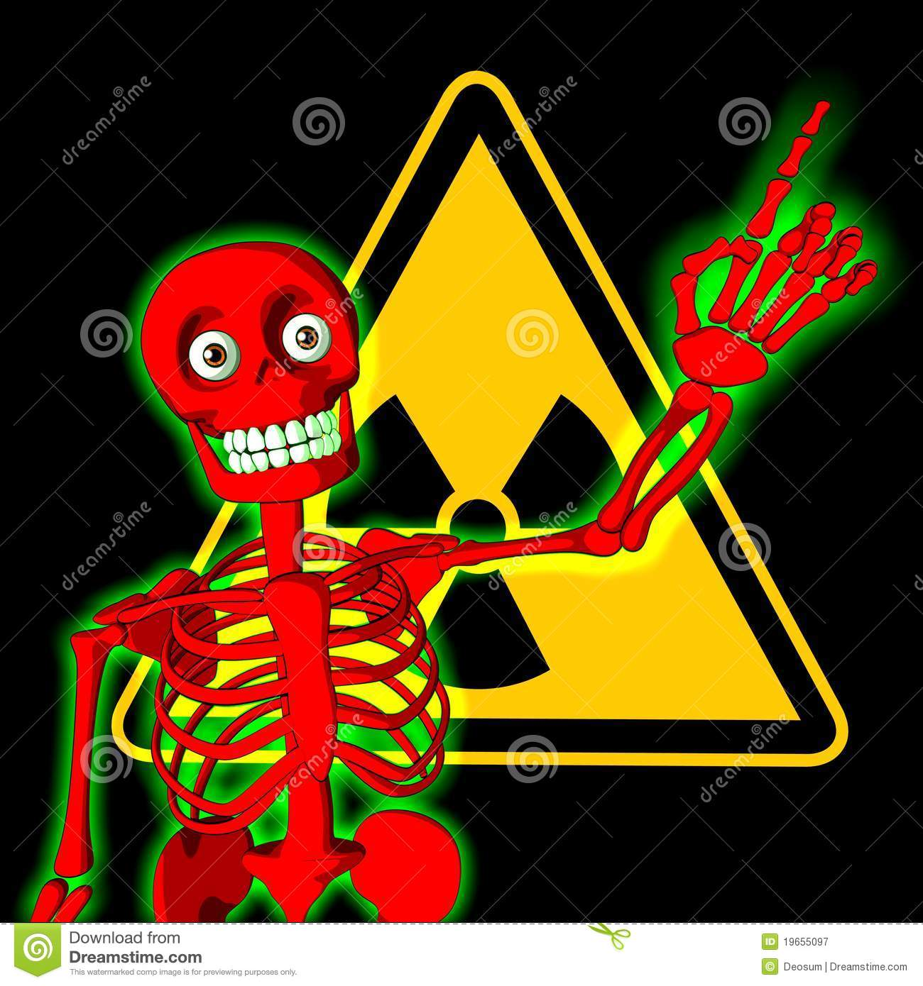 Red Skeleton With Symbol Of Radiation Warning Stock Illustration