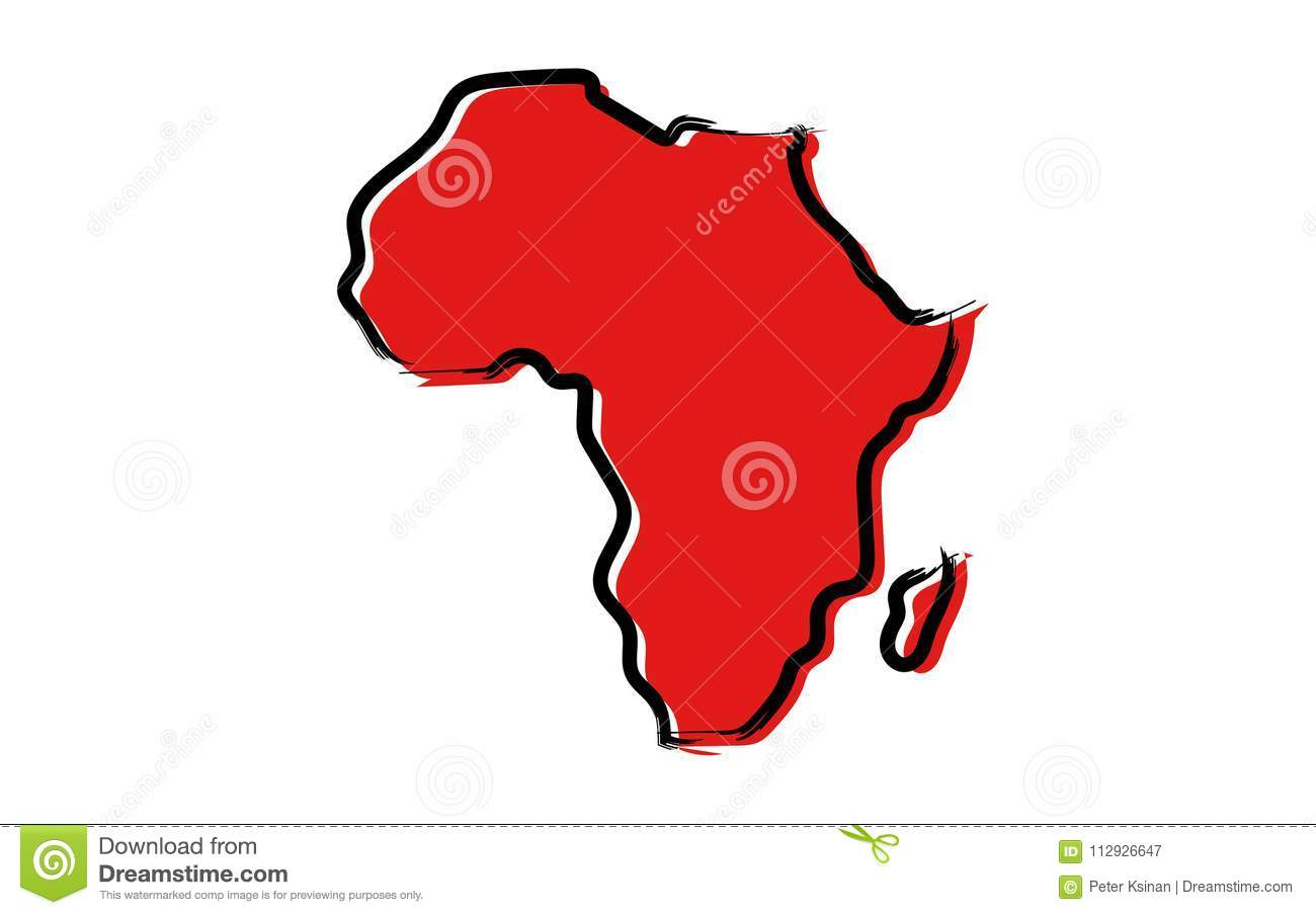 Red sketch map of Africa stock vector. Illustration of area