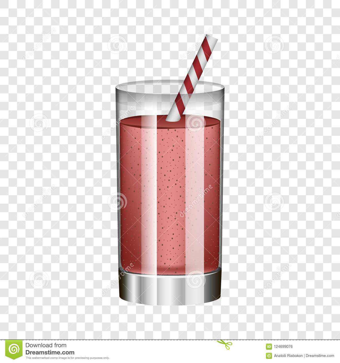 Red smoothie in glass mockup, realistic style