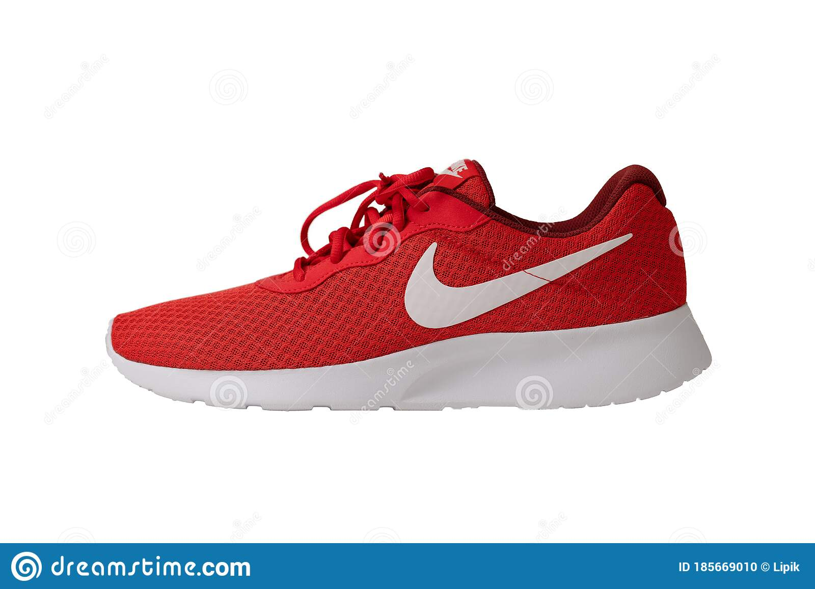 Red Sneakers Of Nike Brand. Shoes With