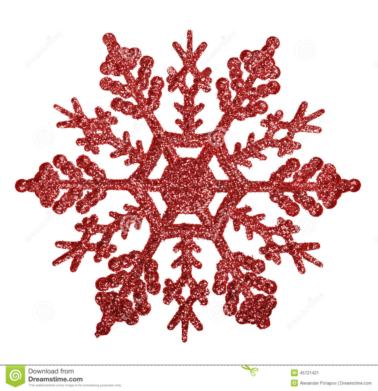 Red snowflake shape decoration isolted on white stock