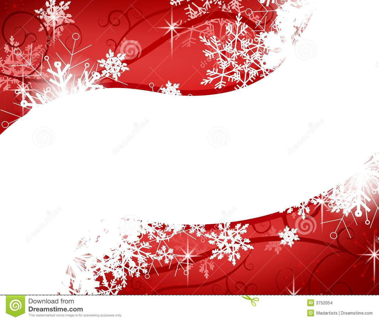 red snowflake swoosh background stock illustration
