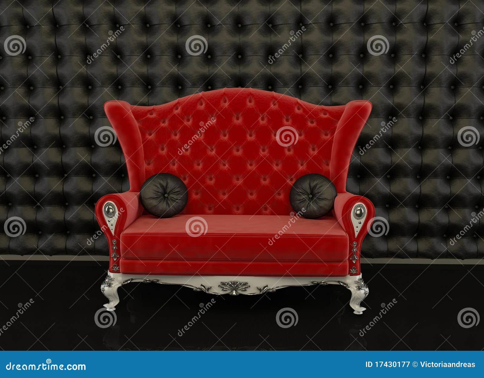 Red Sofa On A Black Background Stock Illustration Image
