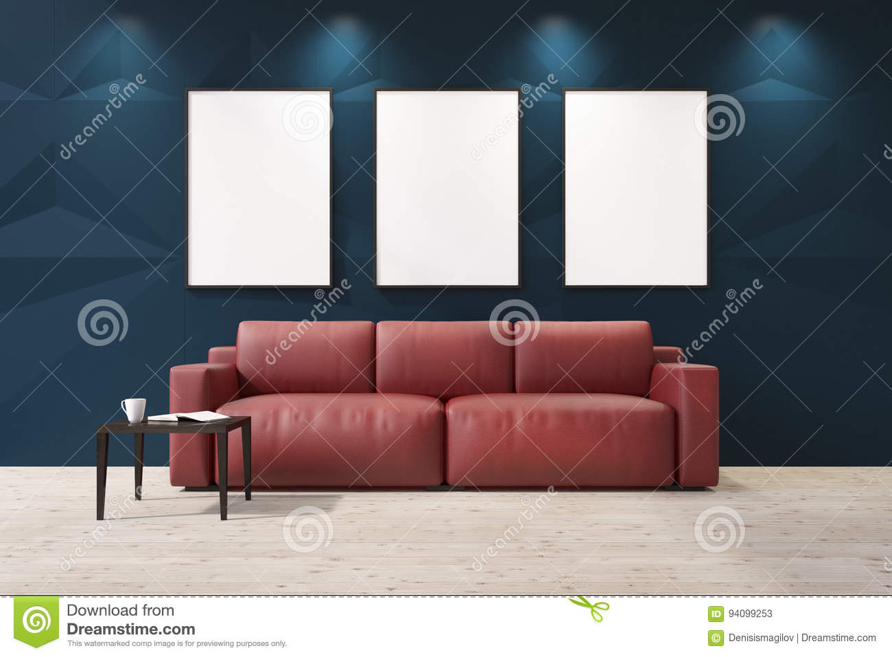Astonishing Red Sofa In A Blue Living Room Stock Illustration Interior Design Ideas Oxytryabchikinfo