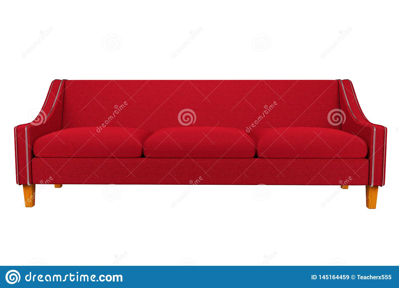 Red Sofa And Chair Fabric Leather In White Background For Use In ...