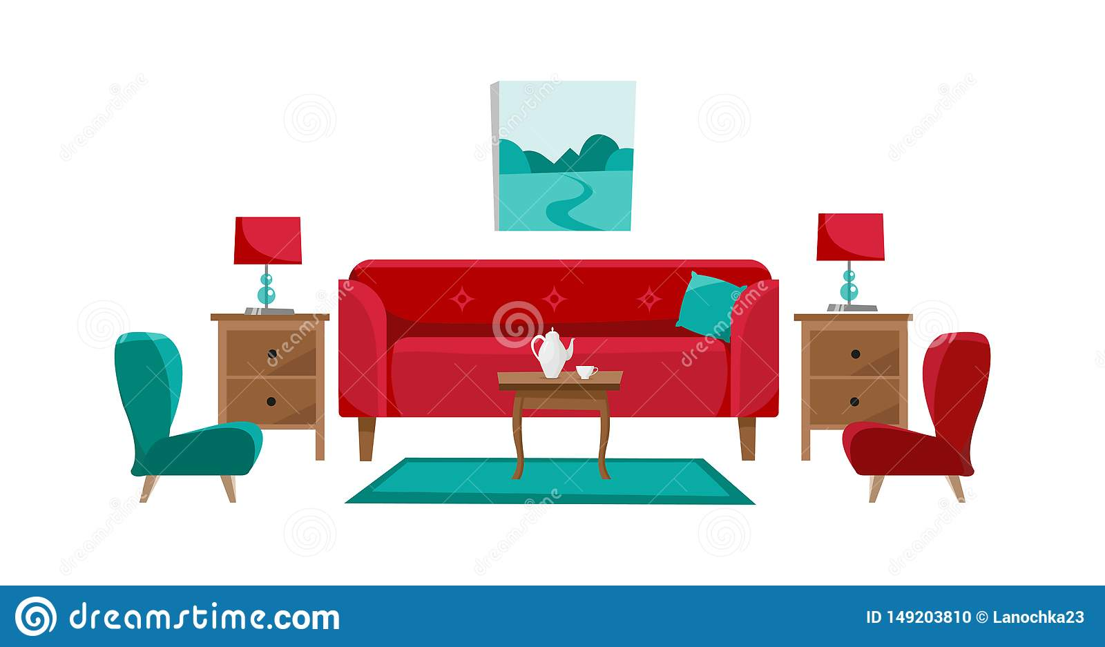 Pleasing Red Sofa With Cofee Table Nightstands Painting Table Bralicious Painted Fabric Chair Ideas Braliciousco