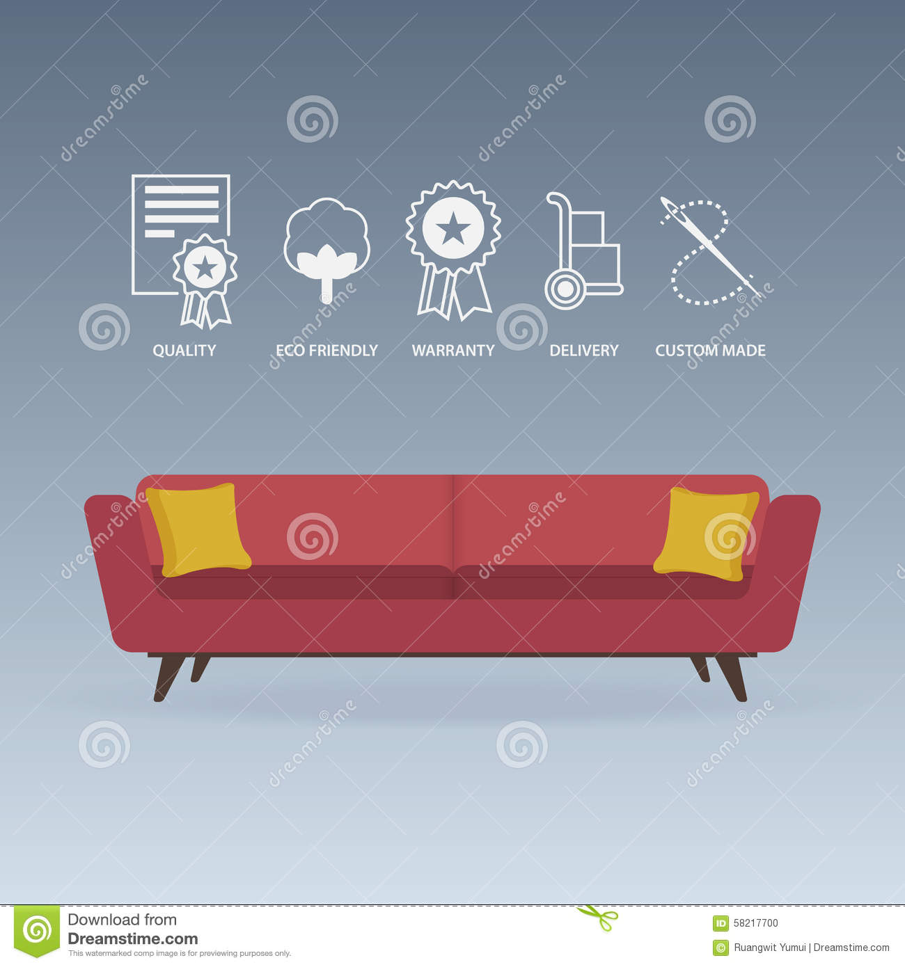 Red Sofa In Flat Design With Service Icons Set Vector Stock Vector