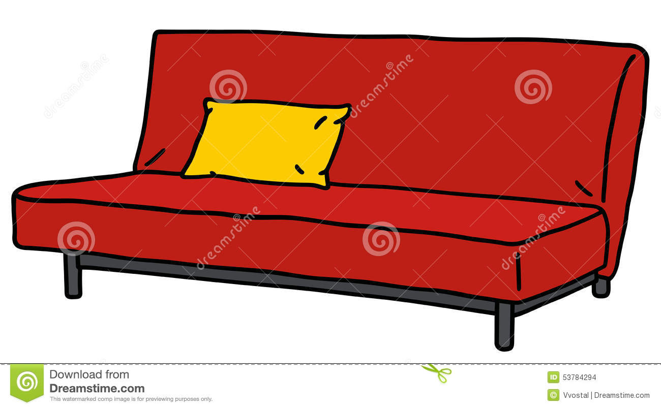 Simple living room interior design 3d - Red Sofa