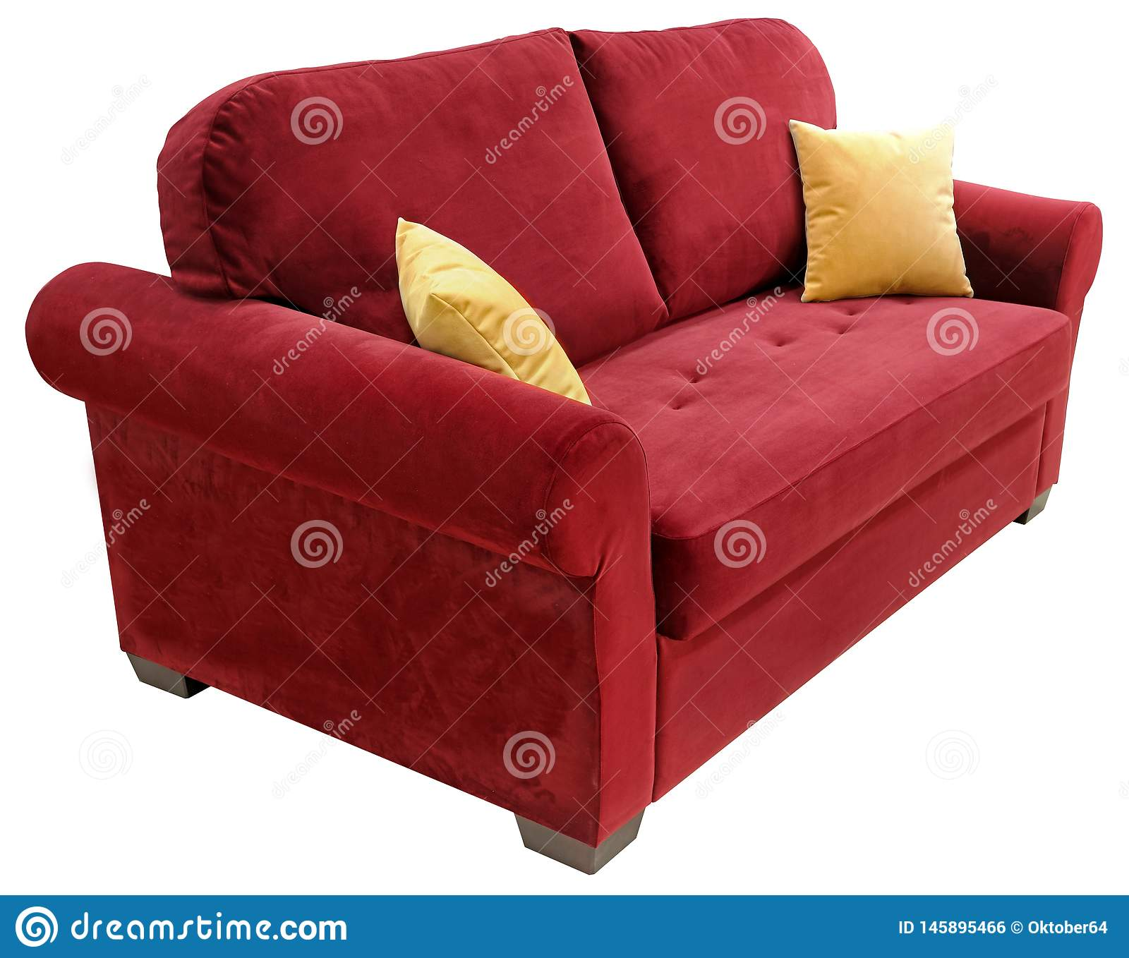 Red Sofa Isolated On White Background On The Couch Yellow Decorative Pillows Stock Photo Image Of Home Isolate 145895466