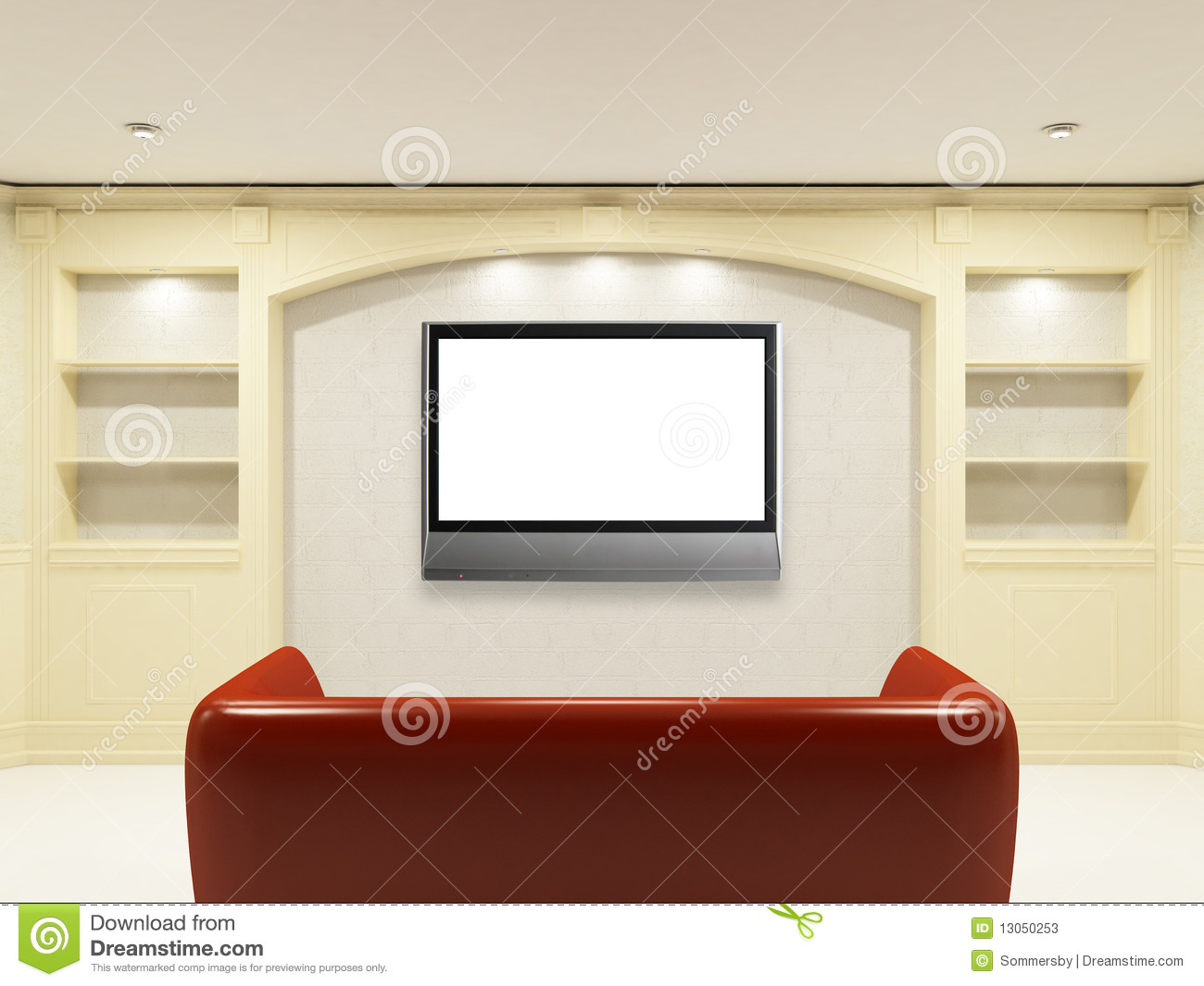 Red Sofa With Lcd Tv On The Wall Stock Photos Image