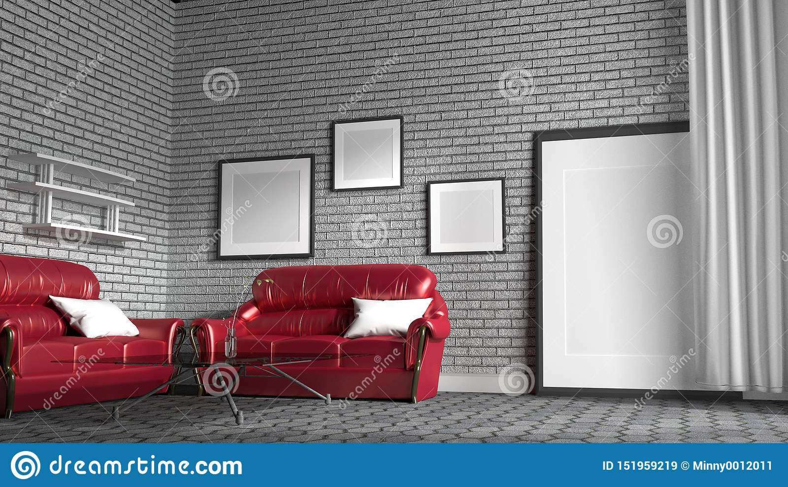 Red Sofa In A Living Room With White Brick Wall Background 3d Rendering Stock Illustration Illustration Of Architecture Living 151959219