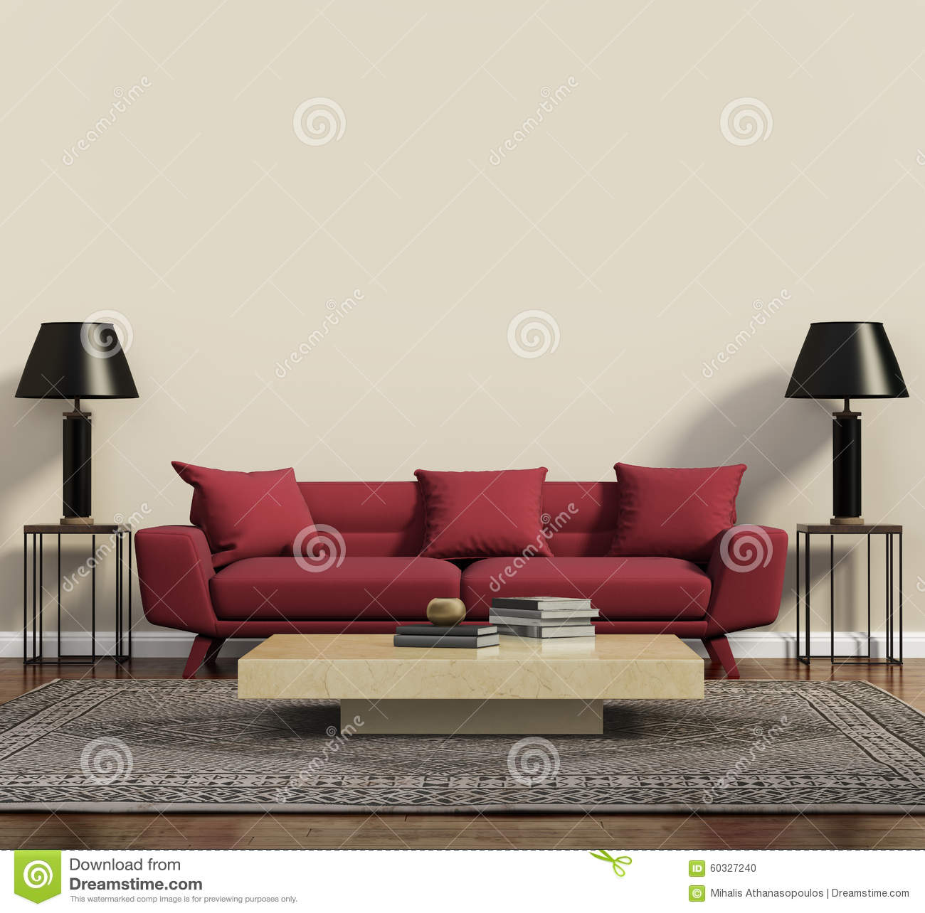 Red Sofa In A Modern Contemporary Living Room Stock Illustration ...