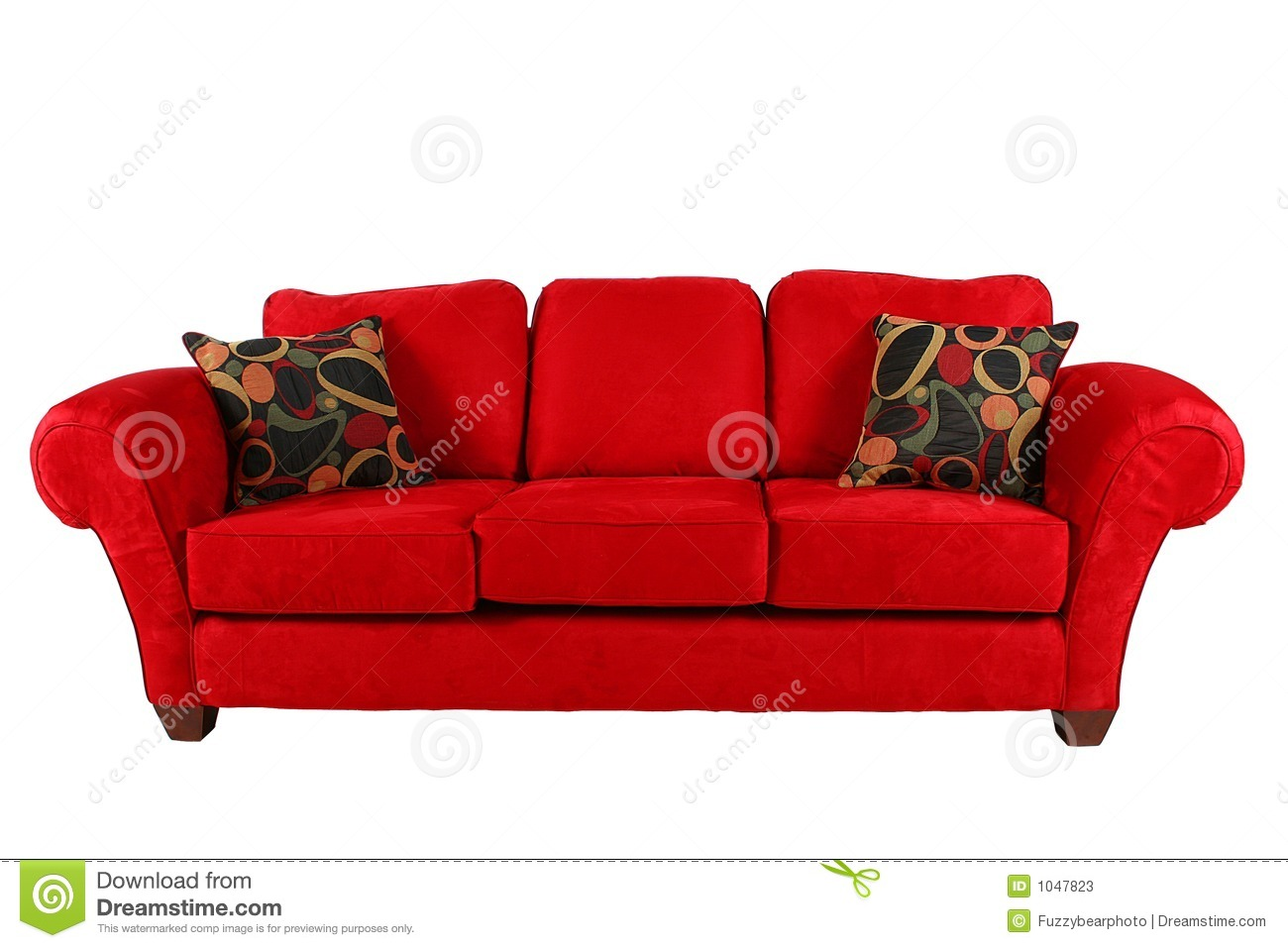 Red Sofa With Modern Pillows Stock Photos Image 1047823
