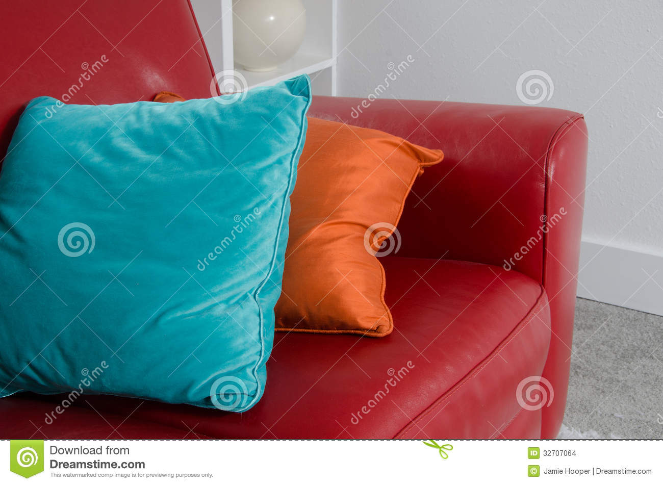 Red Sofa and Pillows stock photo. Image of studio, luxury ...