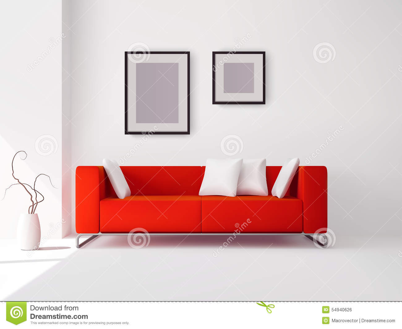 Red Sofa With Pillows And Frames Stock Vector - Illustration ...