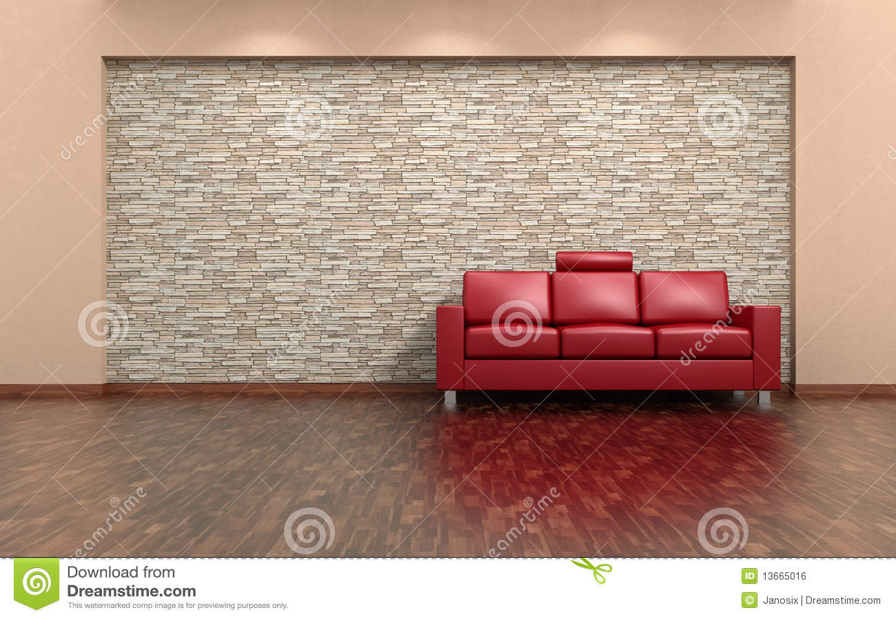 Red Sofa And Stone Wall Interior Stock Photo Image 13665016