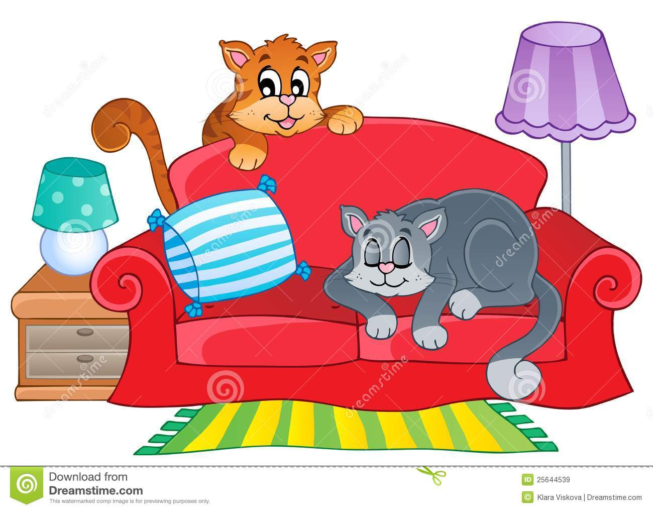Red Sofa With Two Cartoon Cats Stock Vector Image 25644539