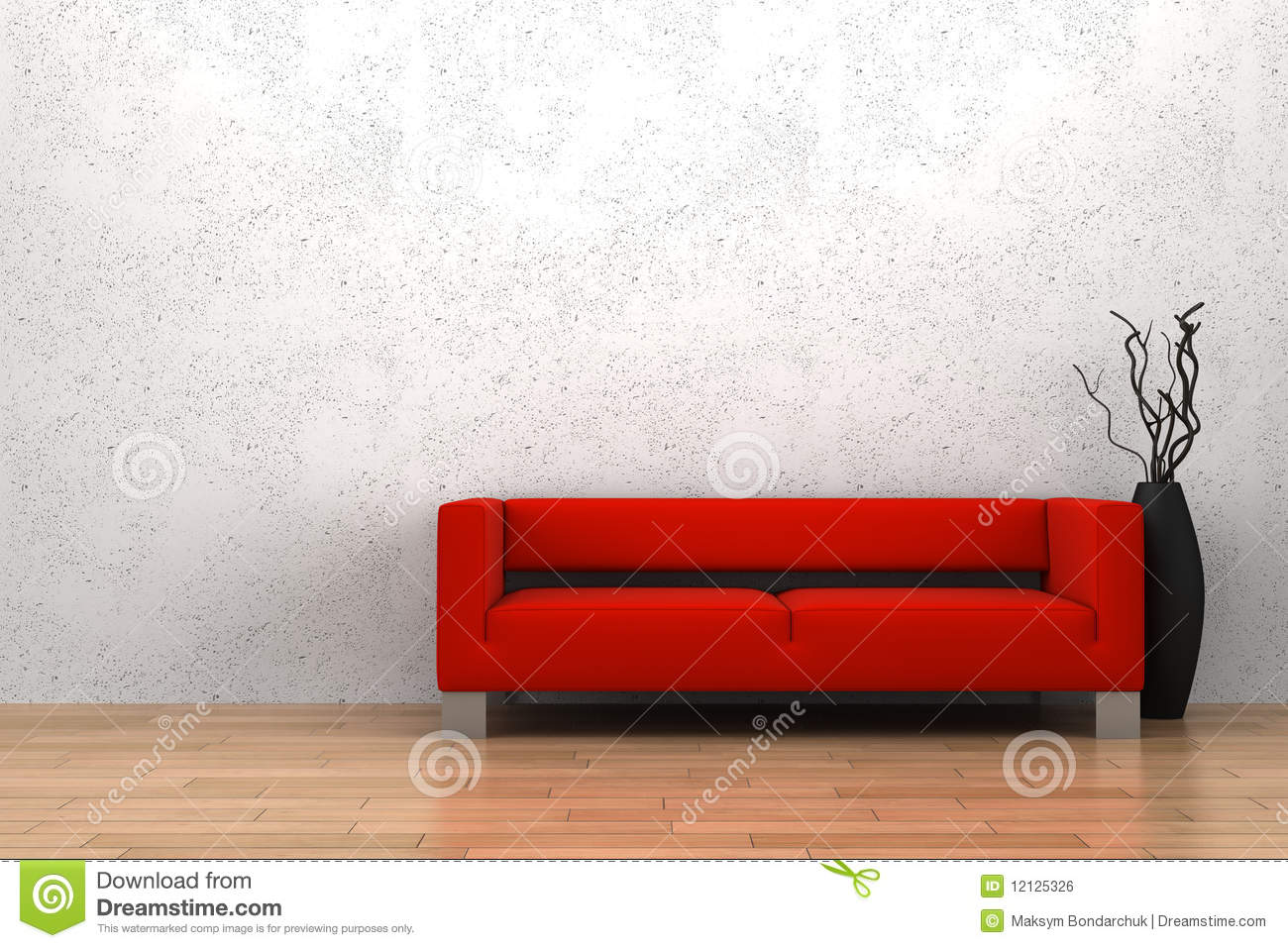 Red sofa and vase in front of white wall royalty free for Red white sofa