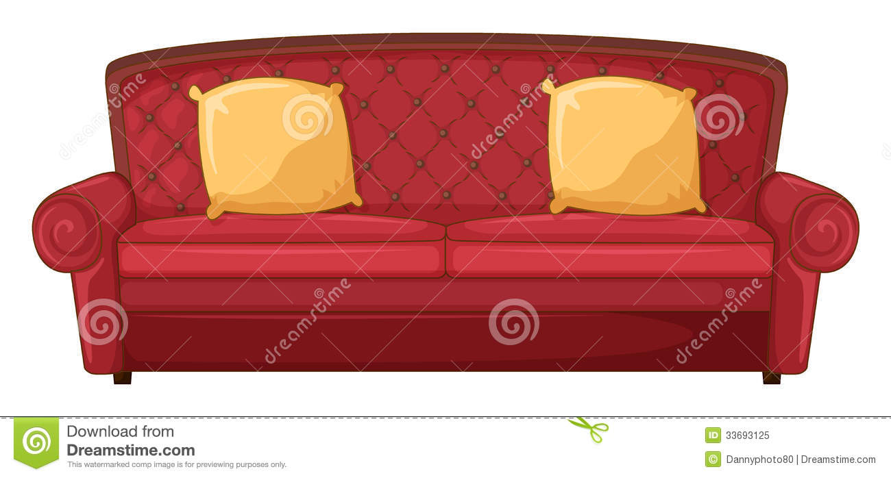 A red sofa and yellow cushions stock illustration image for Red white sofa