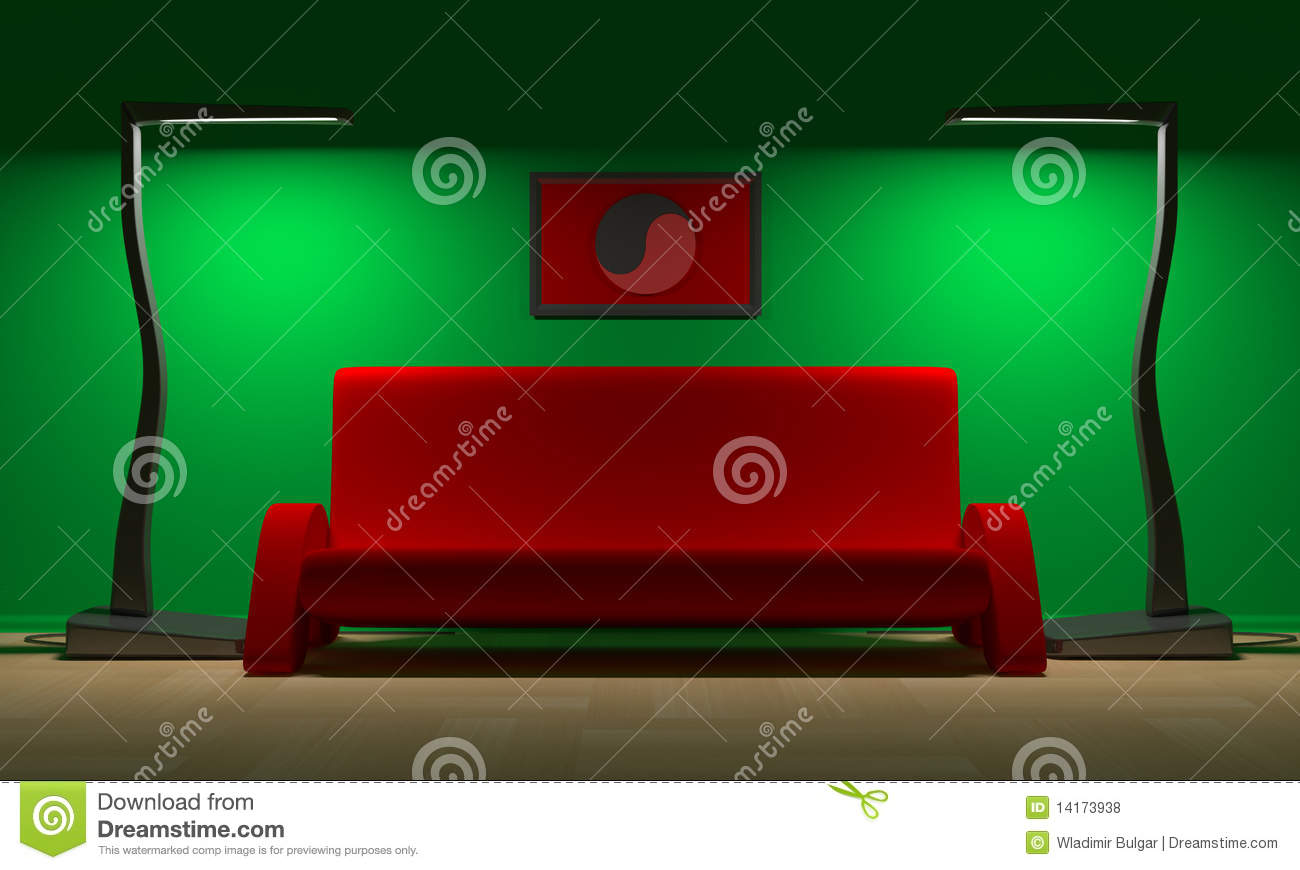 Red Sofa And Yin Yang Royalty Free Stock Photos Image