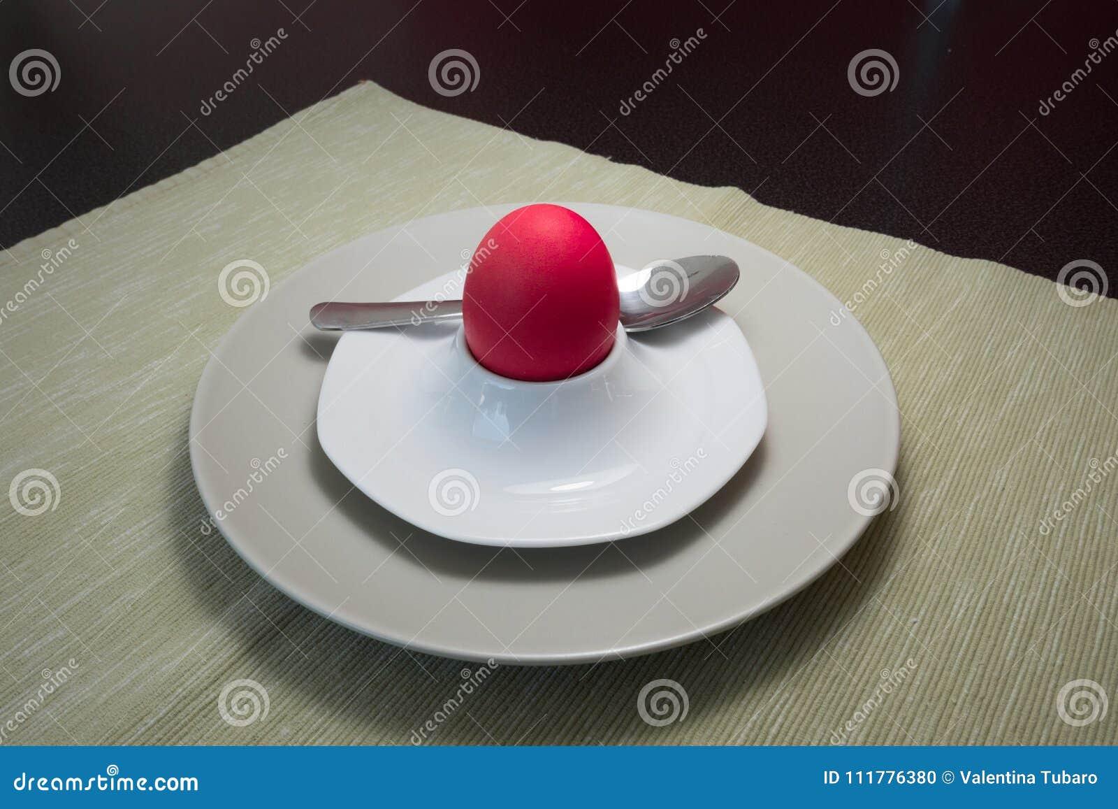 Red soft-boiled egg for Easter
