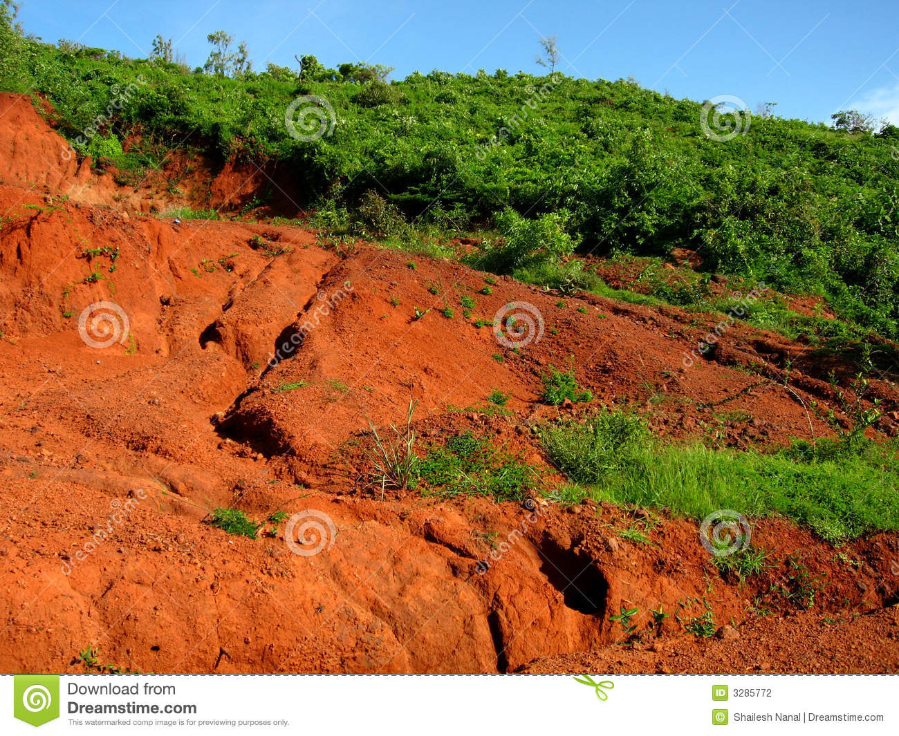 Red soil erosion stock photo image of eroded washout for Soil erosion