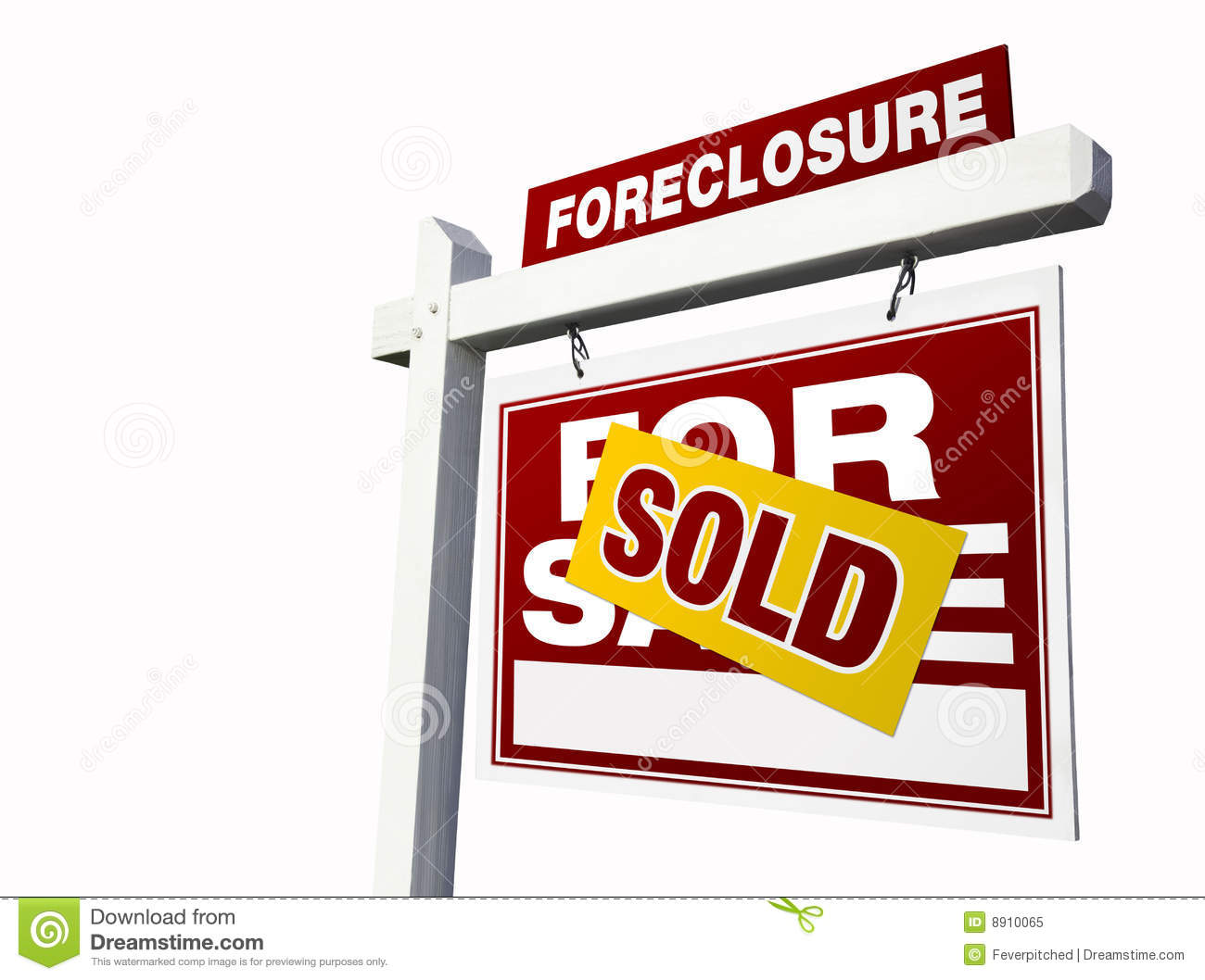 Red sold foreclosure real estate sign on white royalty for Big white real estate foreclosure