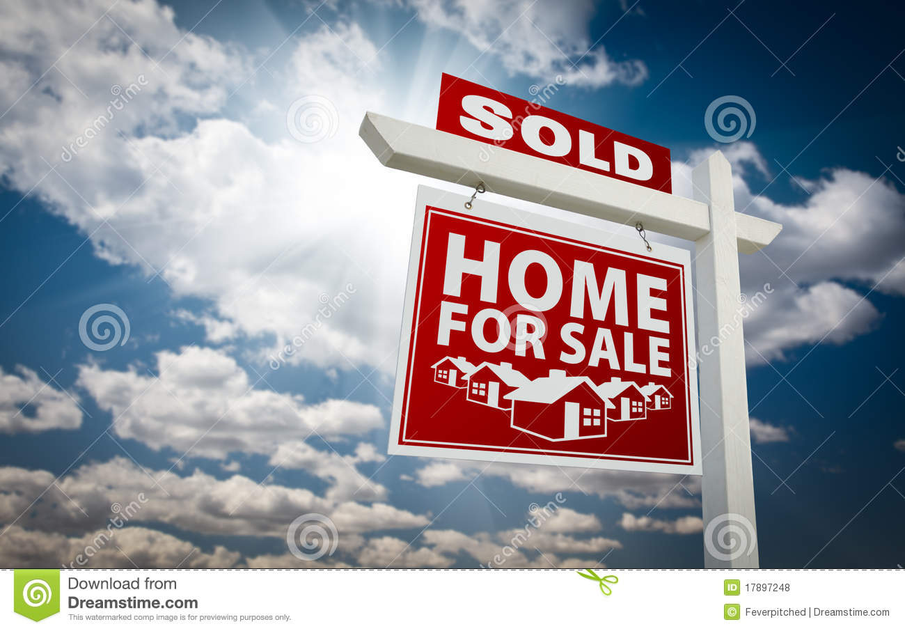 For Sale Sold Sign: Red Sold Home For Sale Real Estate Sign And Sky Stock