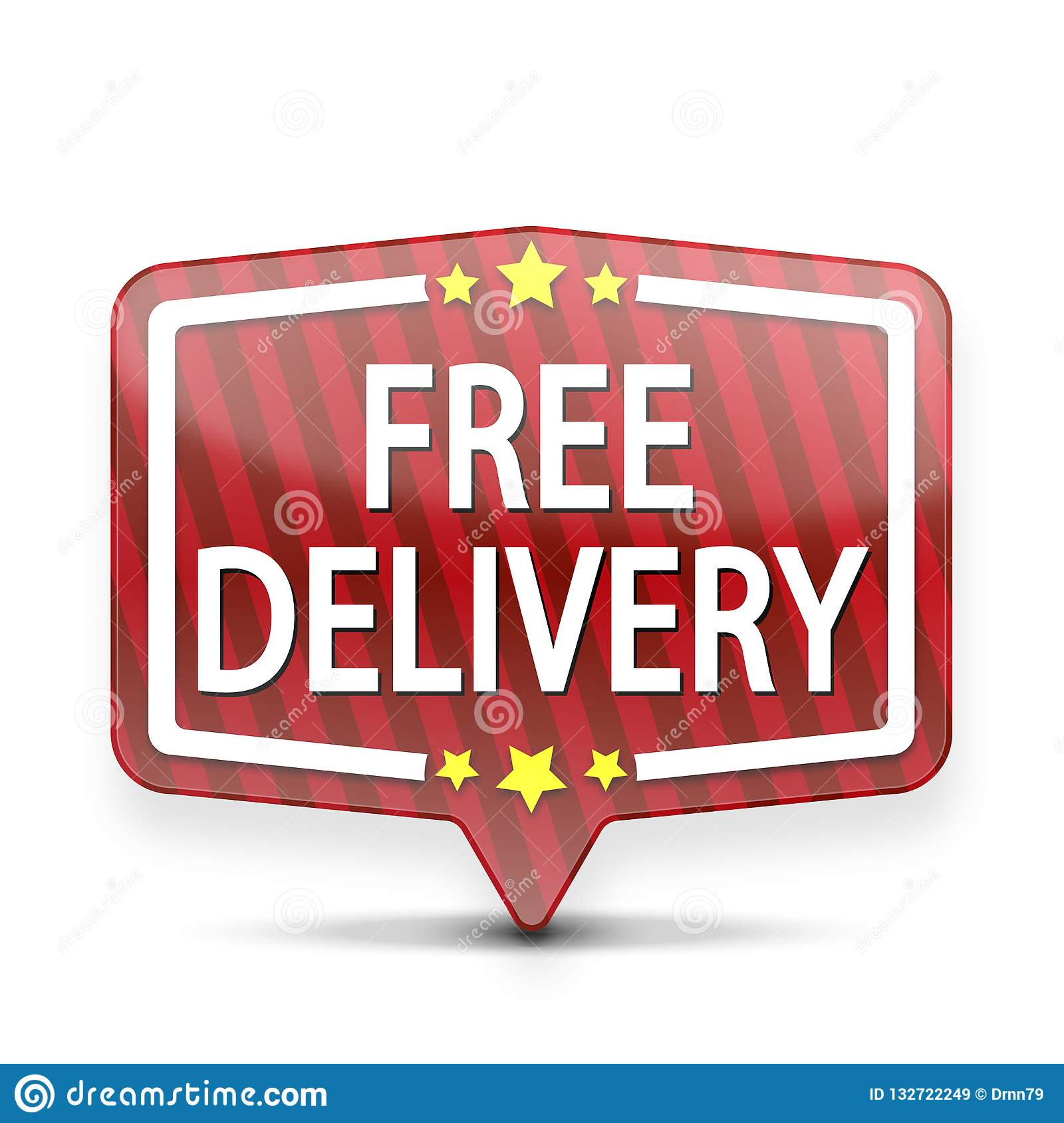 red free delivery web speech bubble with stars isolated stock
