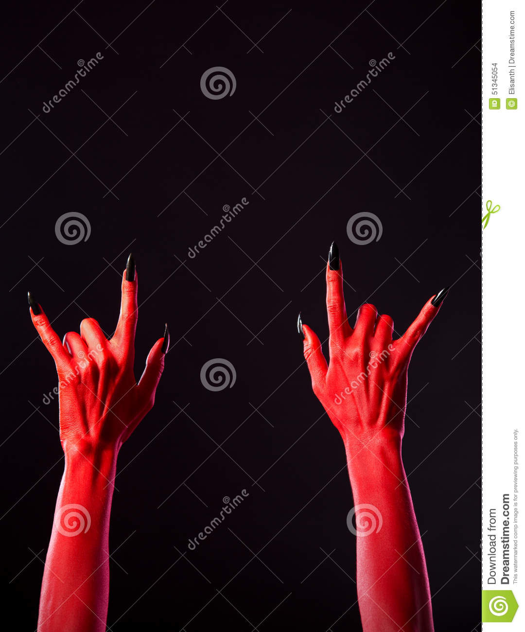 Red Spooky Hands Showing Heavy Metal Gesture Stock Photo Image Of