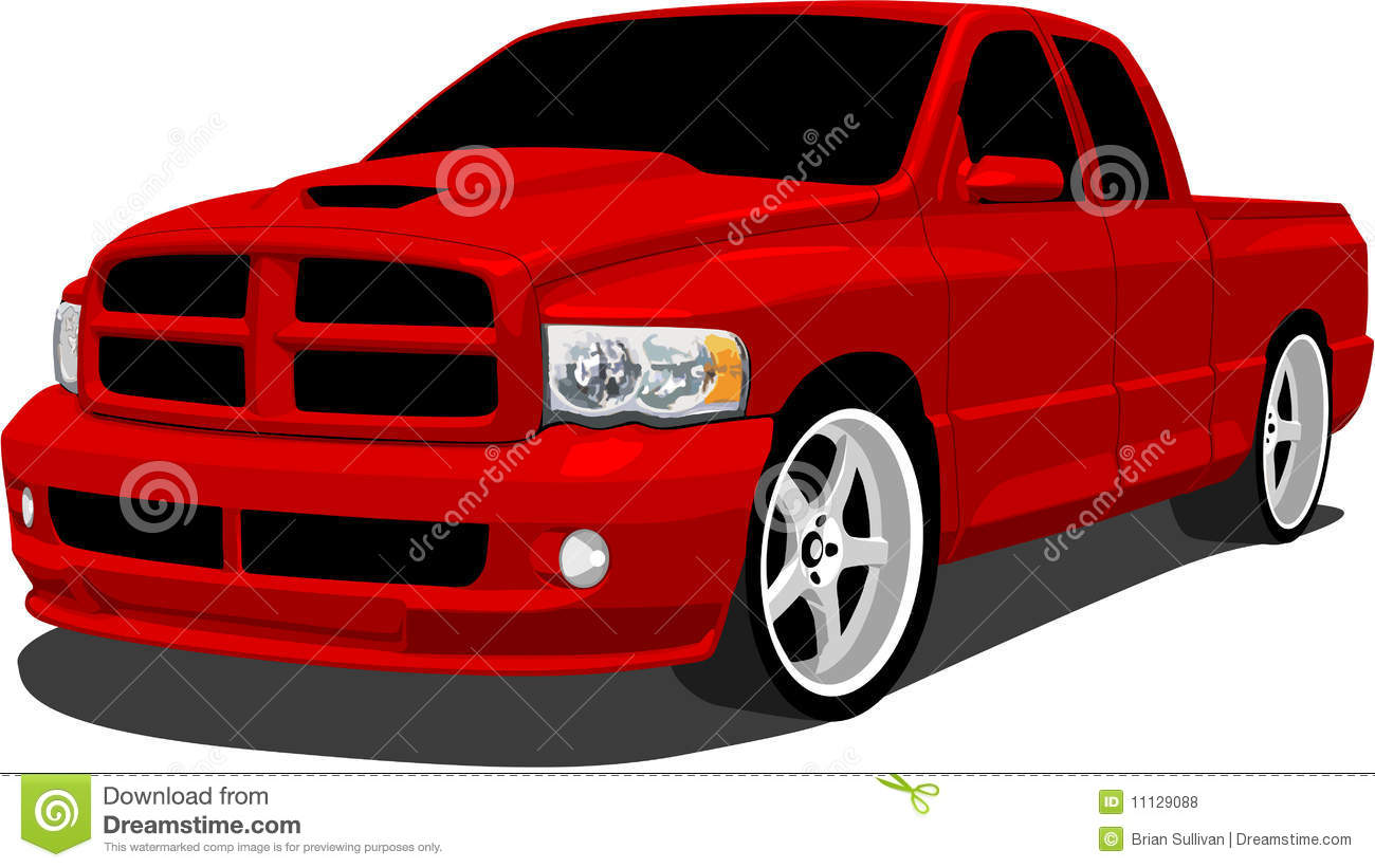 Red Sport Truck Stock Vector Illustration Of Muscle