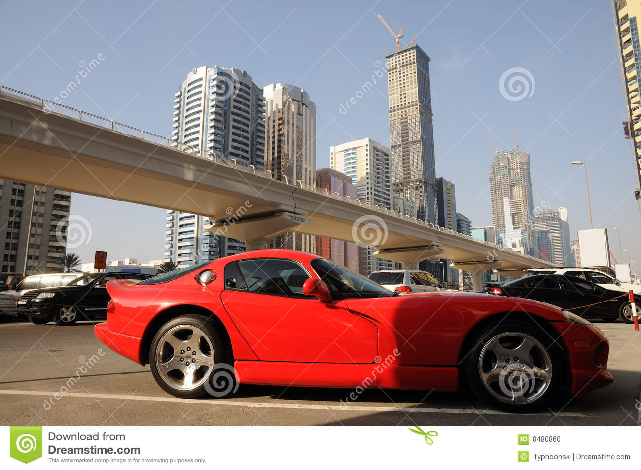 Red Sports Car In Dubai Stock Photo - Image: 8480860