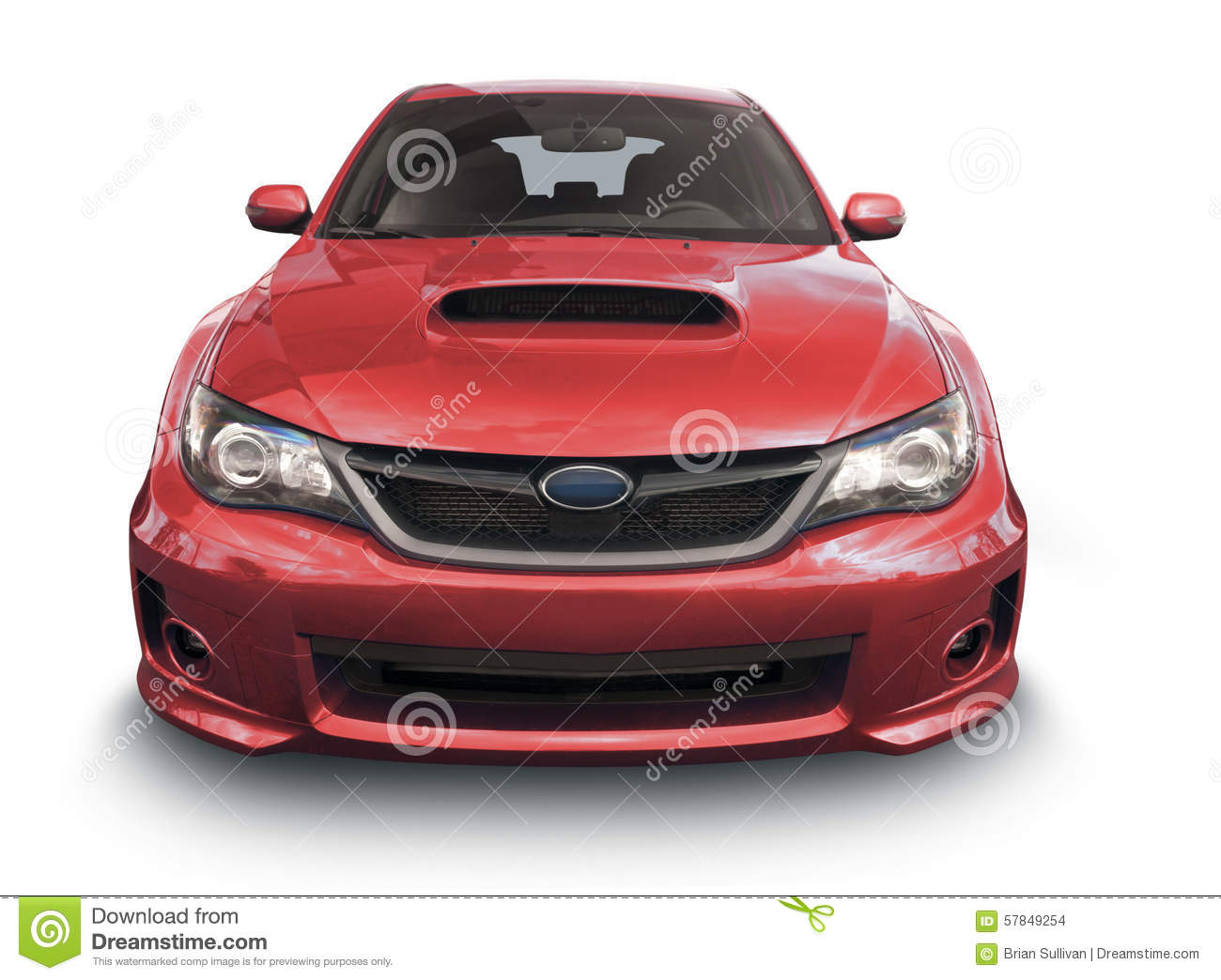 Red Subaru Car Front View Stock Photo Image Of Vehicle Hood