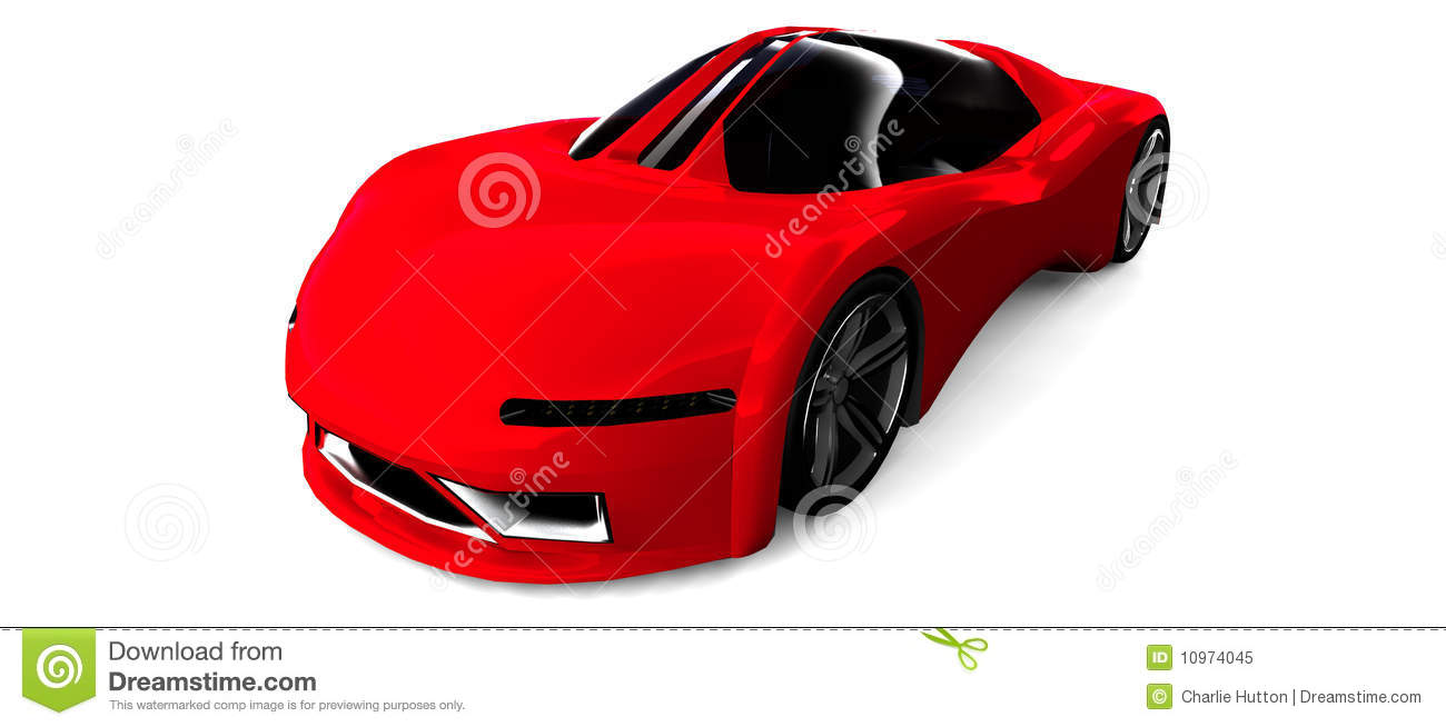 Red sports car isolated on white