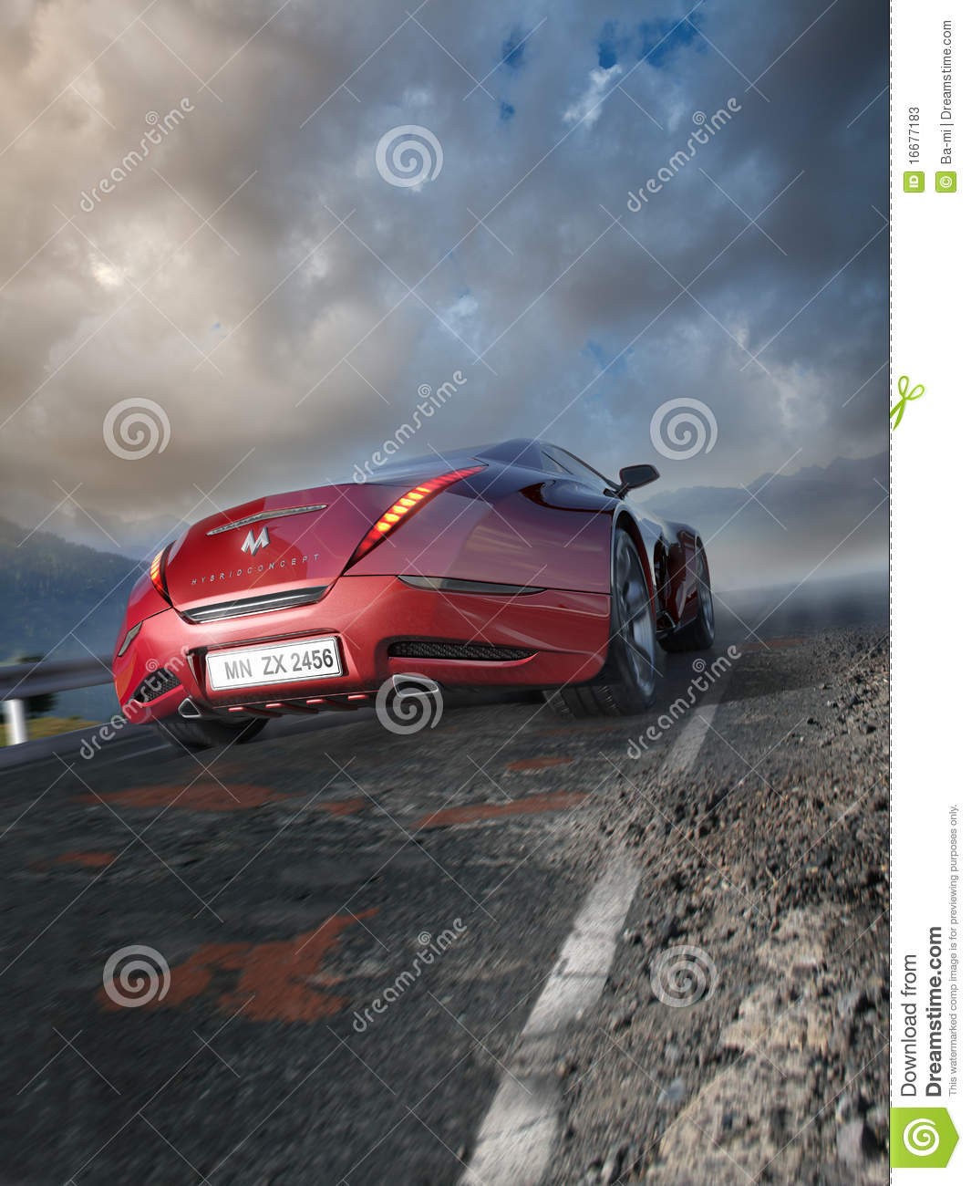 Red Sports Car Moving On The Mountain Road Stock