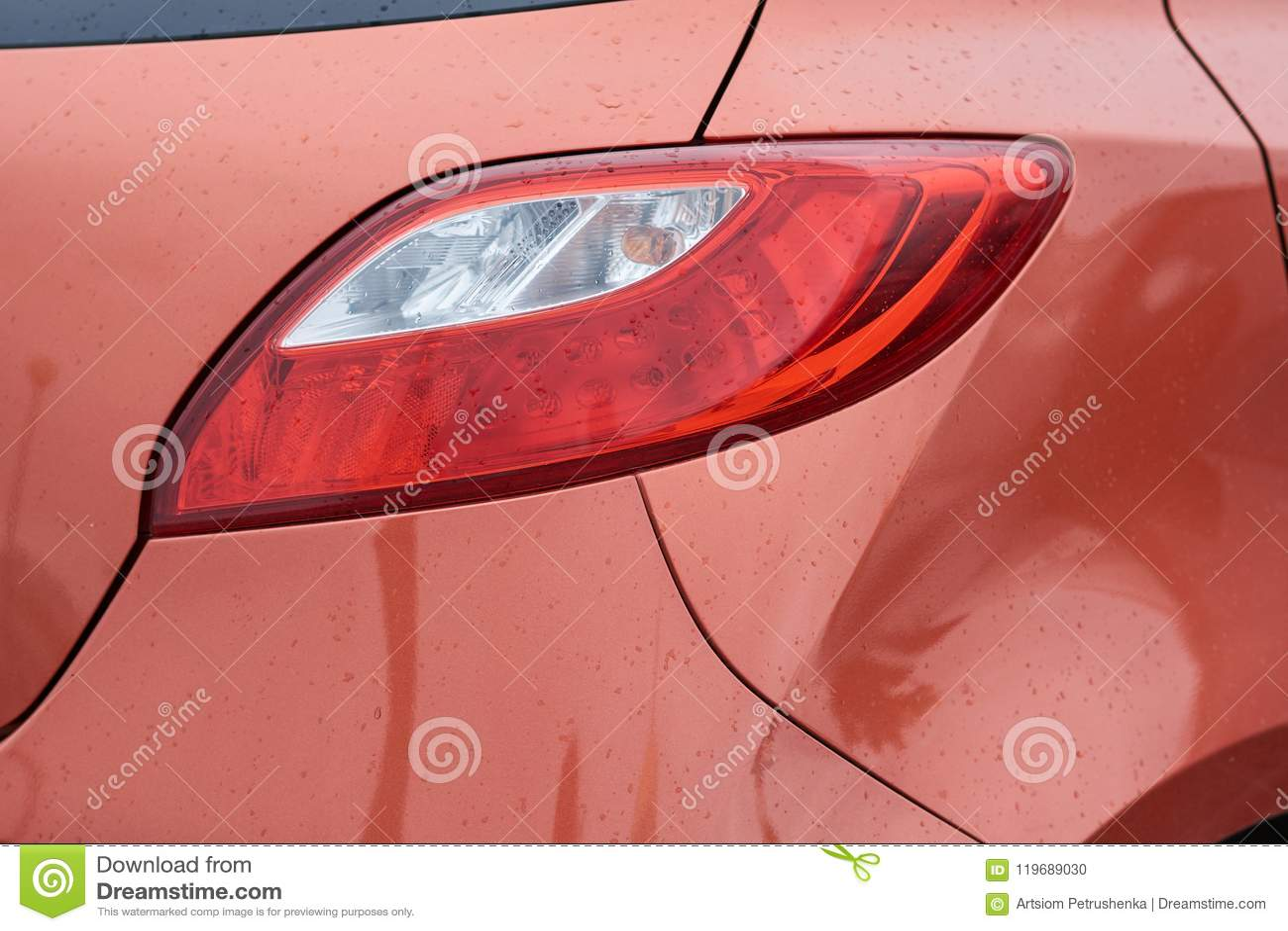 Red sports car rear light