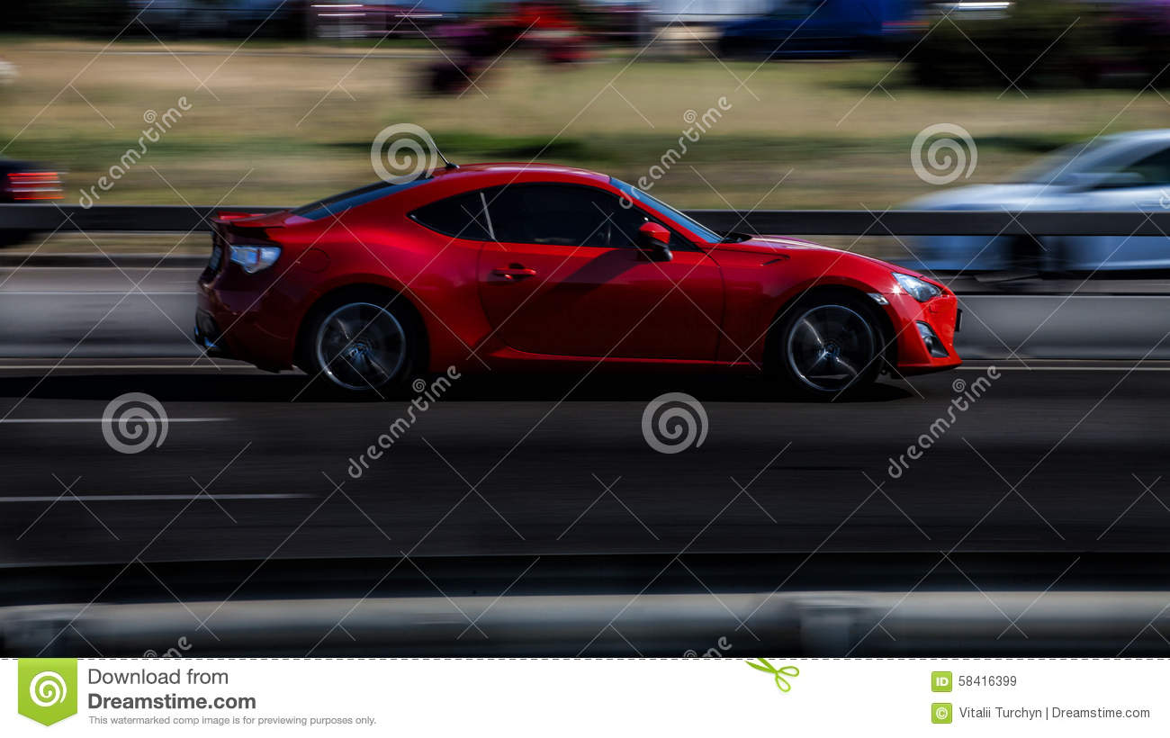 Red Sports Car Subaru Brz Stock Image Image Of Fast 58416399