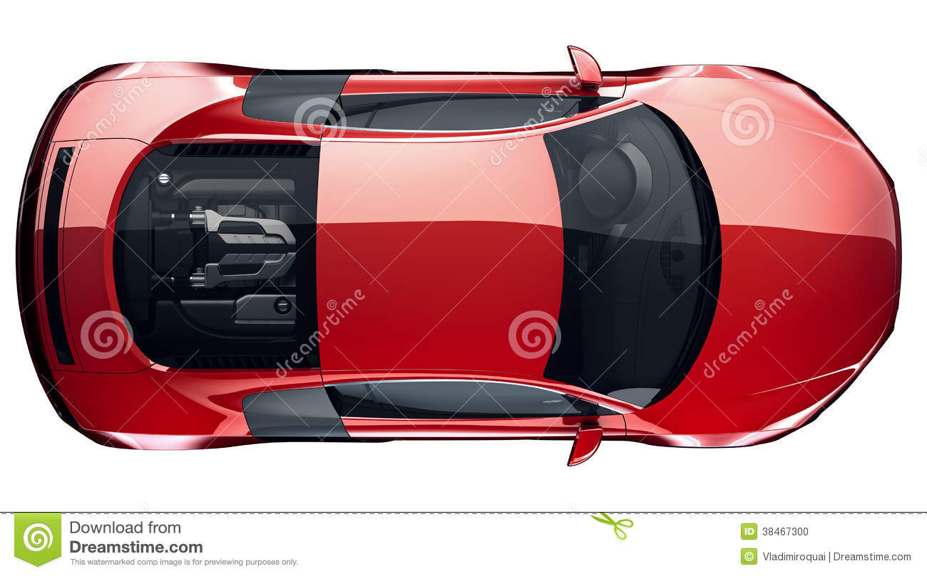 Red Sports Car   Top View. Roof, Glass.