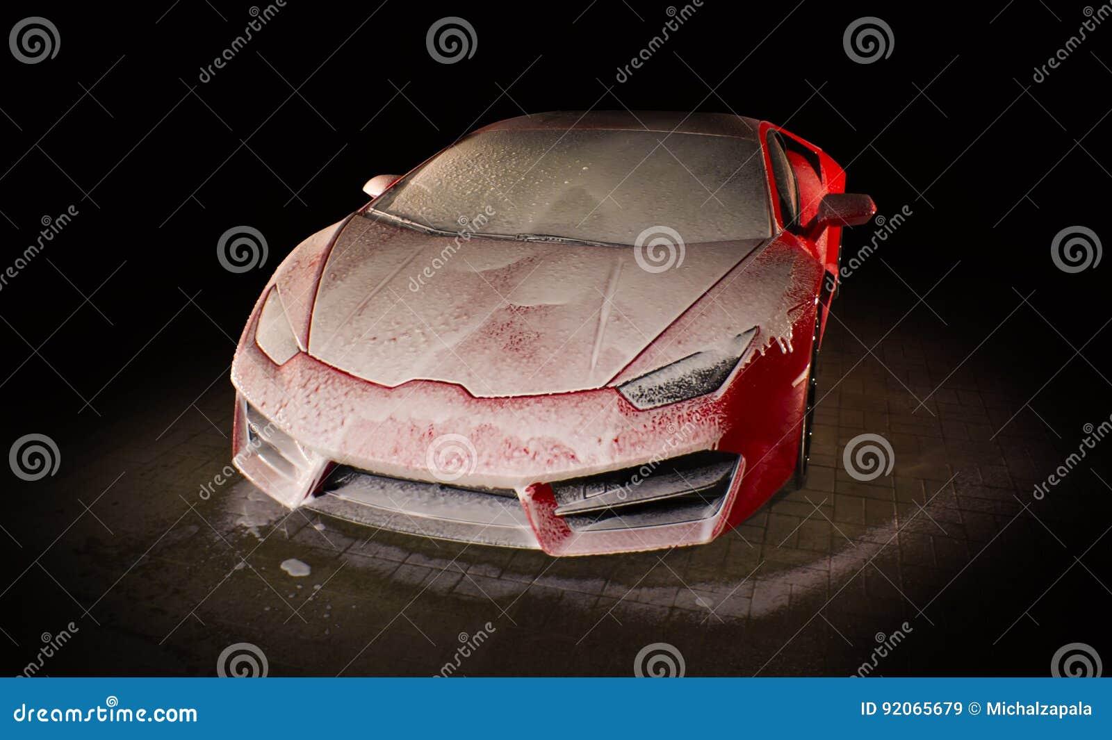 Red sports car wash - dark background