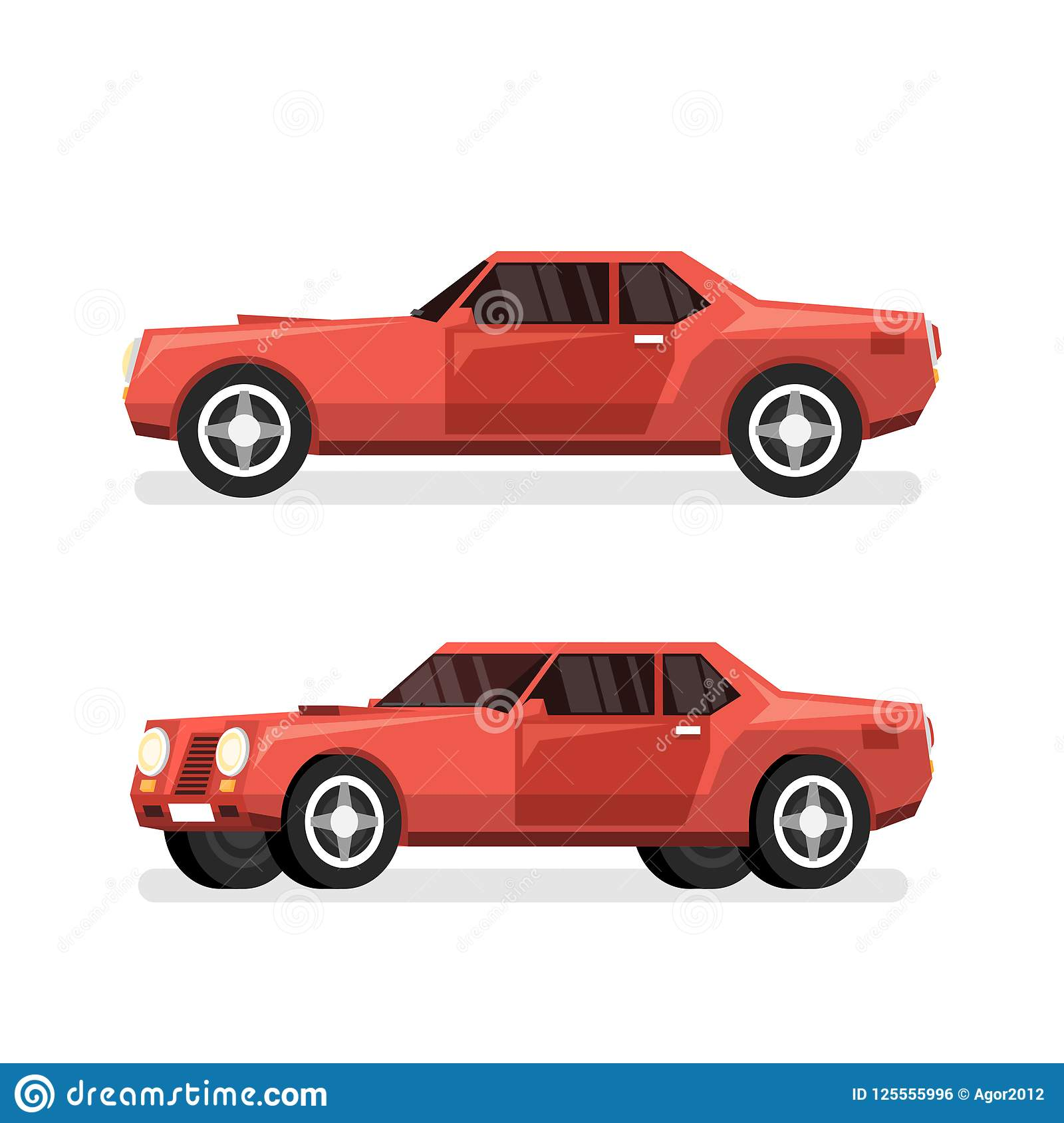 Big Red Sports >> Red Sports Powerful Car With Big Engine Stock Vector