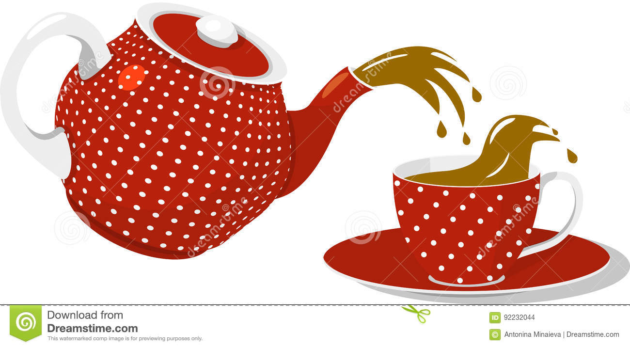 Red Spotted Teapot And Cup Stock Vector Illustration Of