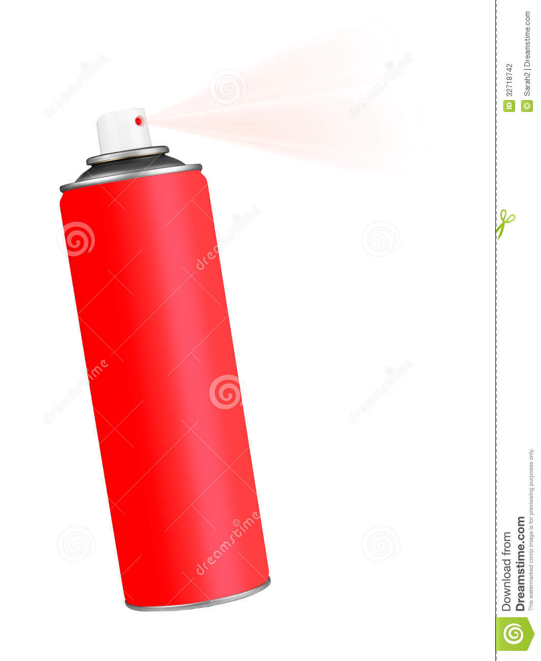 Red spray aerosol can over white stock photography image 32718742 Paint with spray can