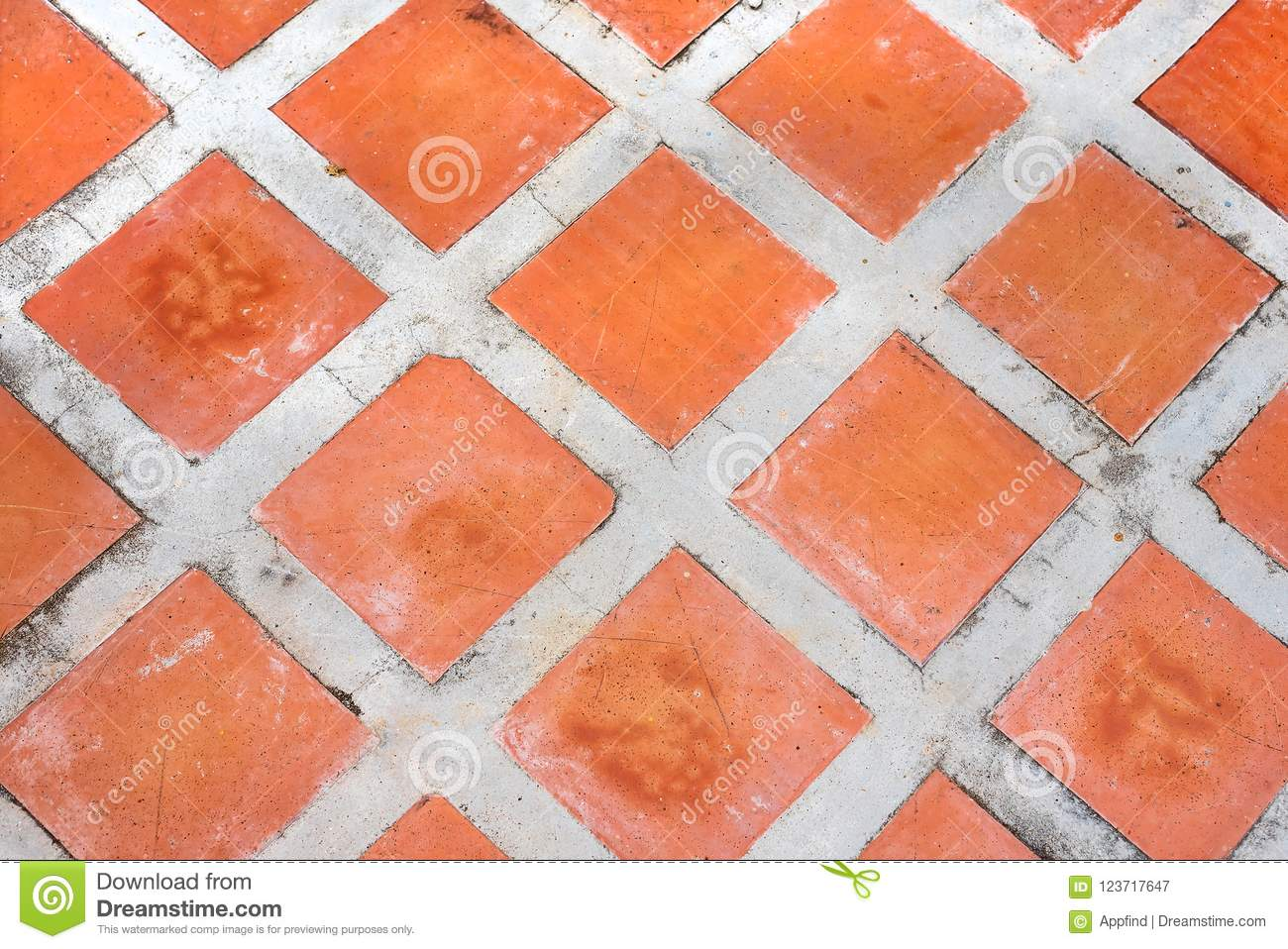 Red Square Tile Pattern Stock Image Image Of Sidewalk 123717647