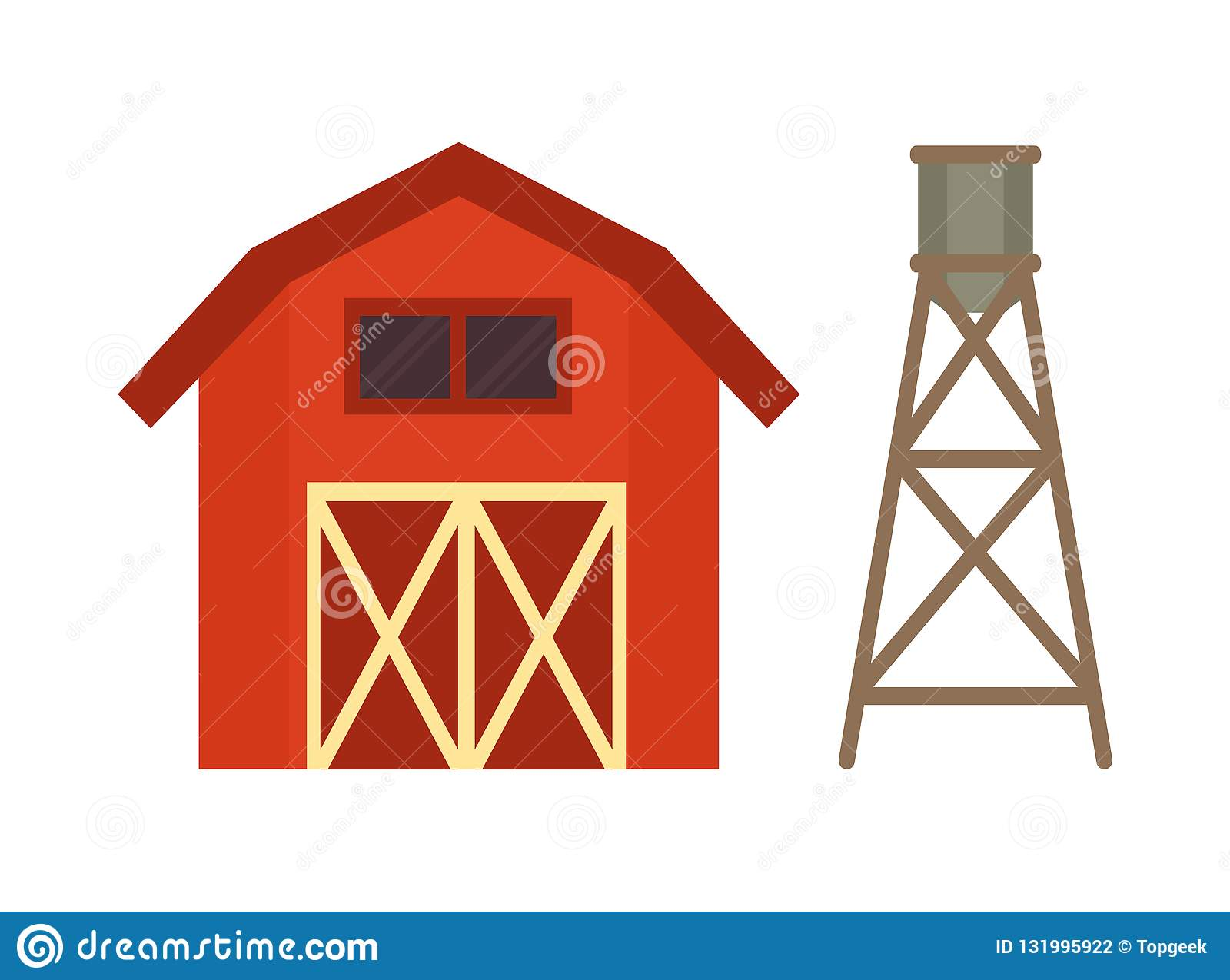 Red Stable And Water Cask Vector Illustration Stock Vector