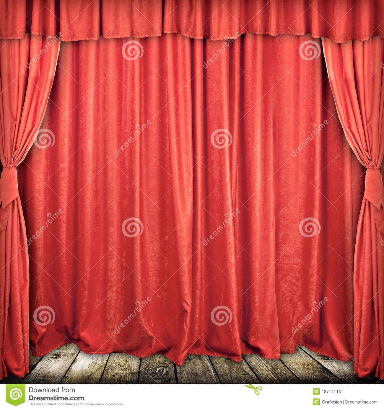 Used Theatrical Drapes: Red Stage Curtain Stock Photos