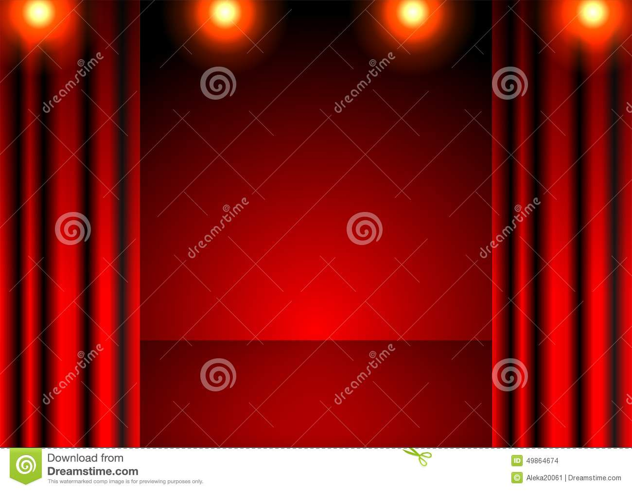 Red stage curtain with lights - Red Stage Curtain With Lights Red Stage Curtain And Bright Lights