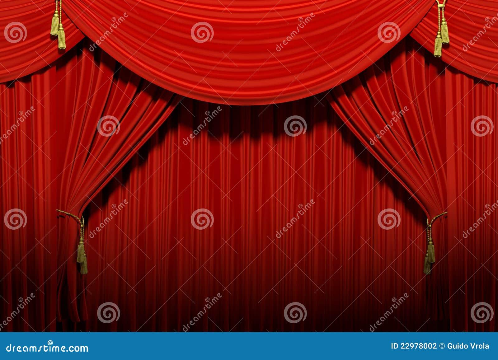 drapes red stage theater velvet