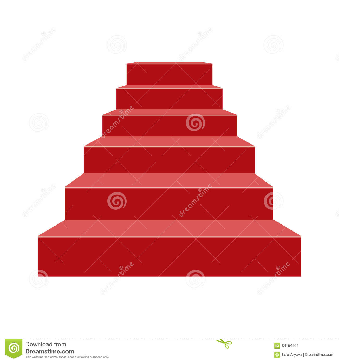 red stairs stage podium with 6 steps vector illustration stock